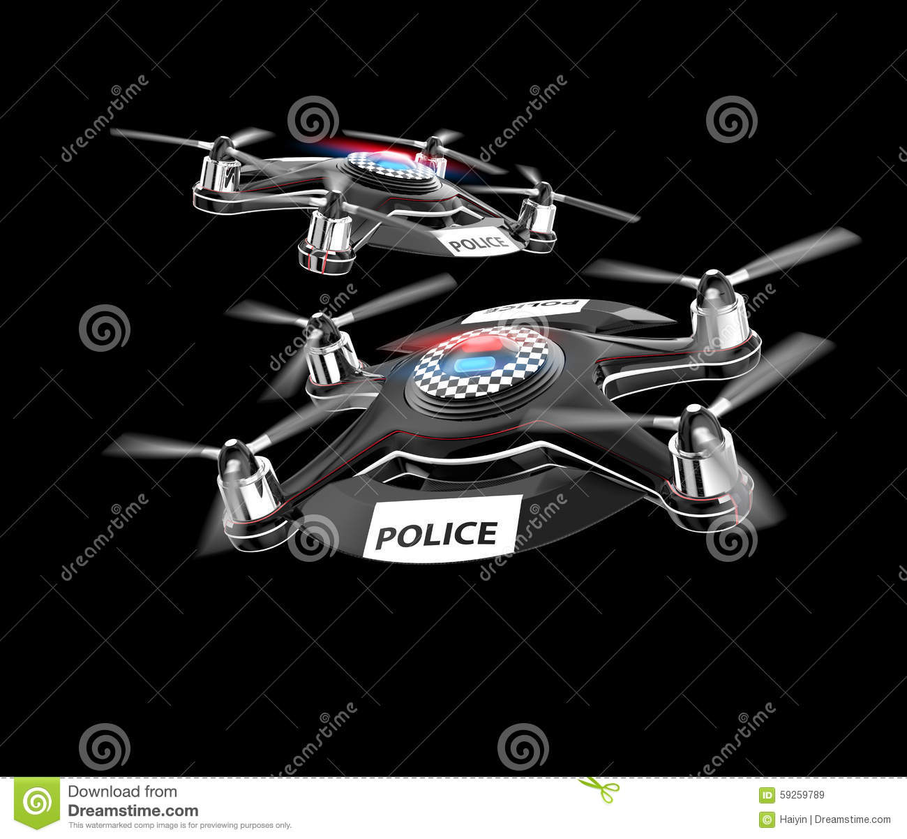Two Police Drones On Black Background Royalty Free Stock Images