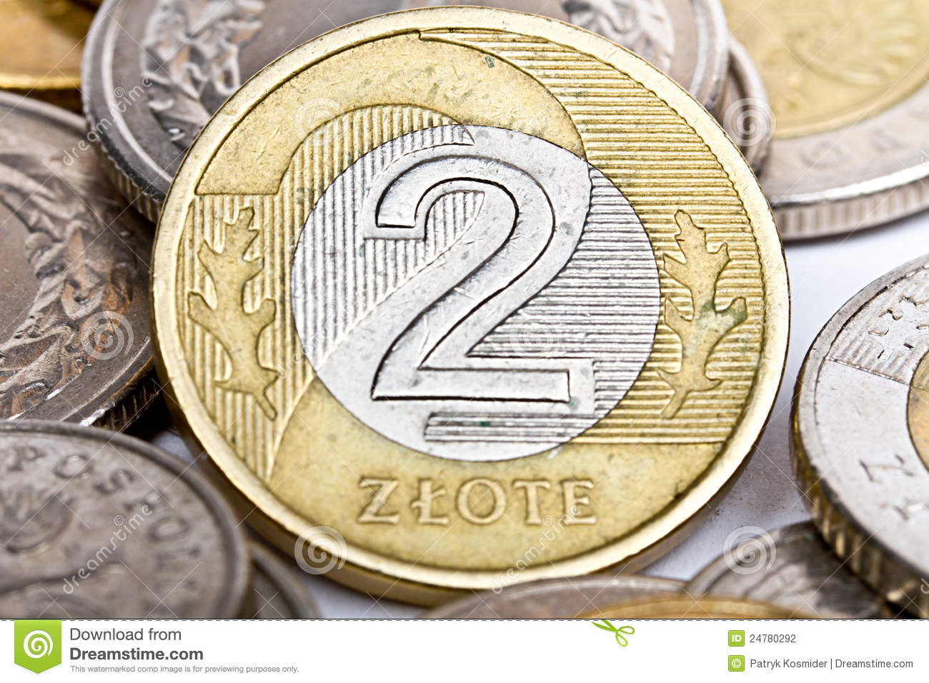 Two Polish Zloty Coin Stock Photography Image 24780292