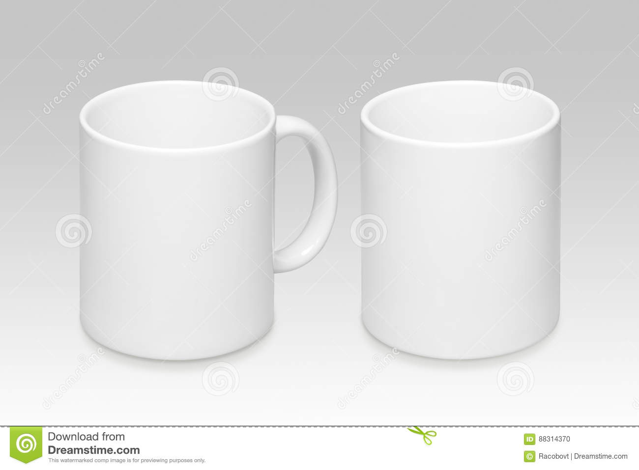 Two positions of a white mug