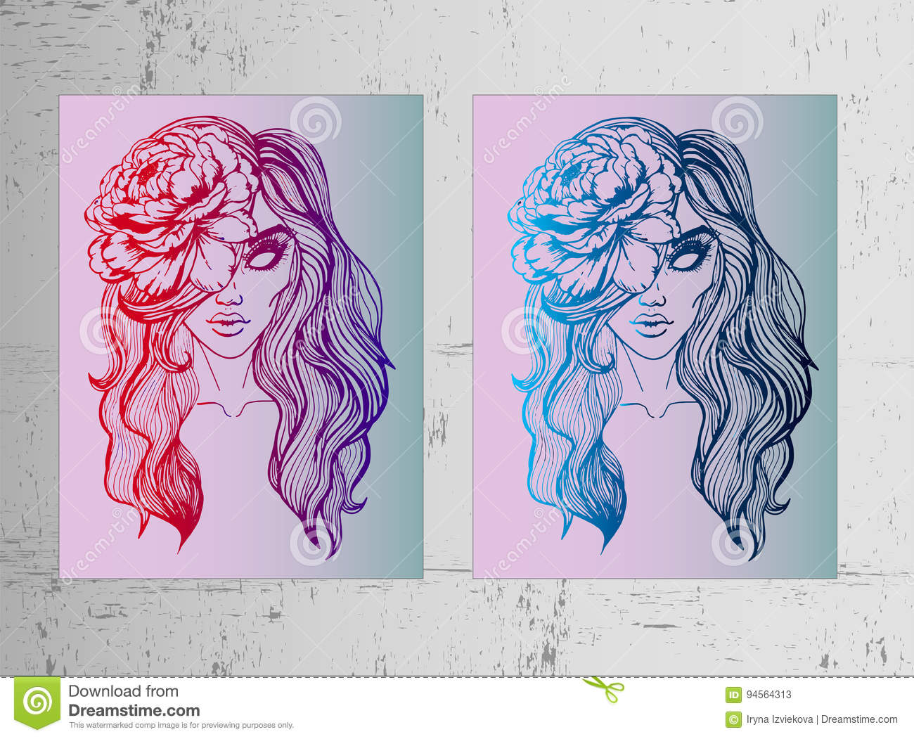 Two Posters A Girl With A Pion In Her Hair Beautiful And Bright