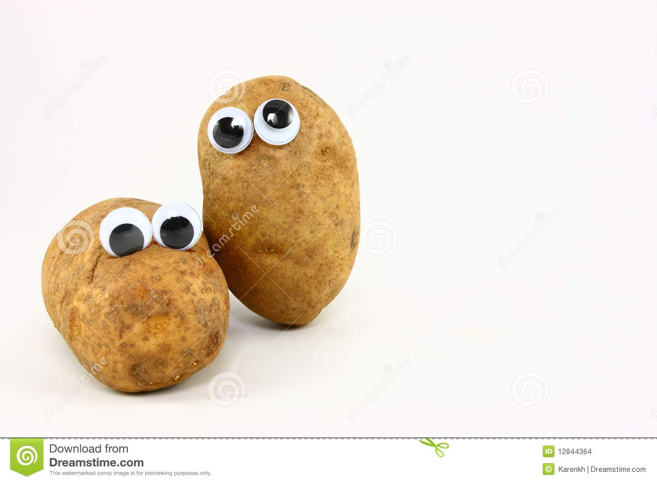 Two Potato Friends With Wiggly Eyes