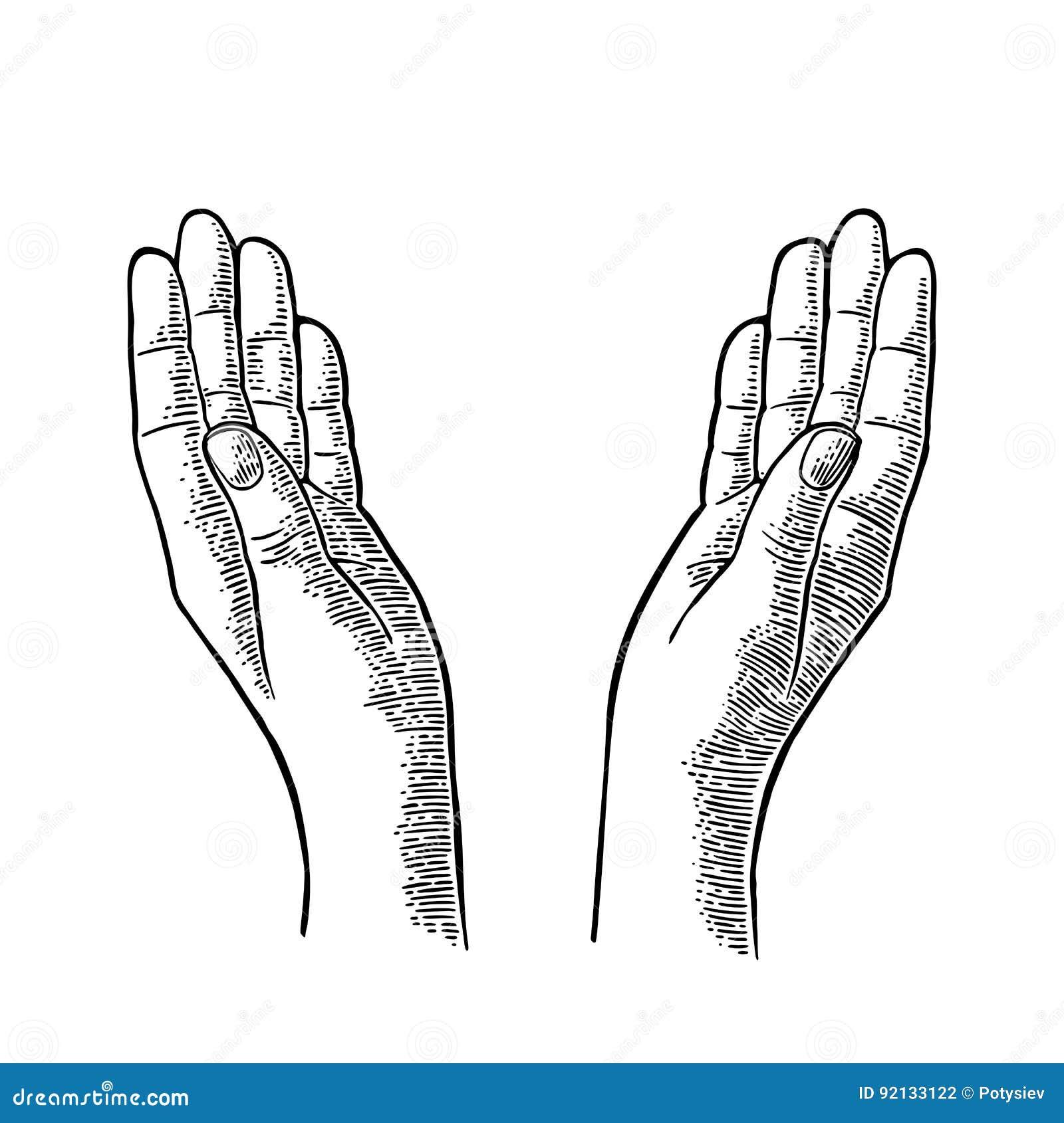 Two Praying Hands. Vector black vintage engraving