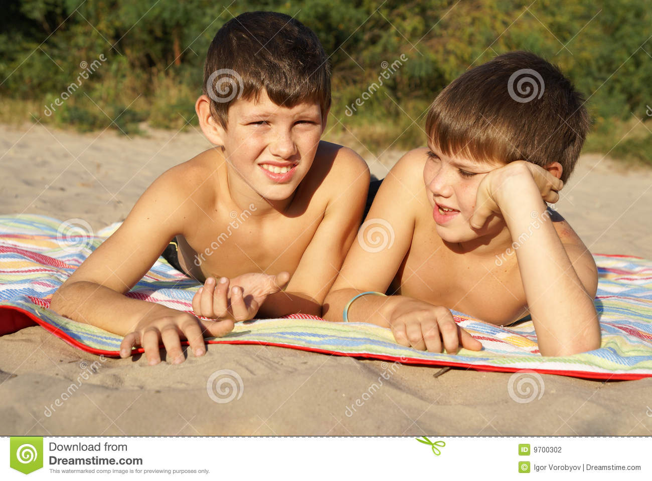 Two Preteen Boys Outdoors Stock Photo Image Of Childhood