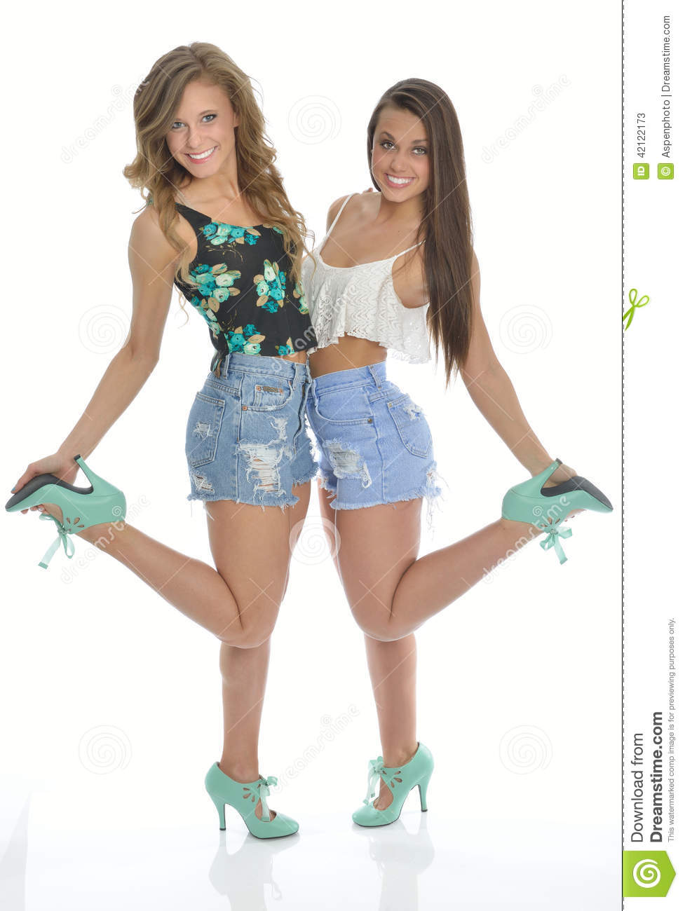 Two Pretty Young Women Pose In Country Western Outfits Stock Photo - Image 42122173