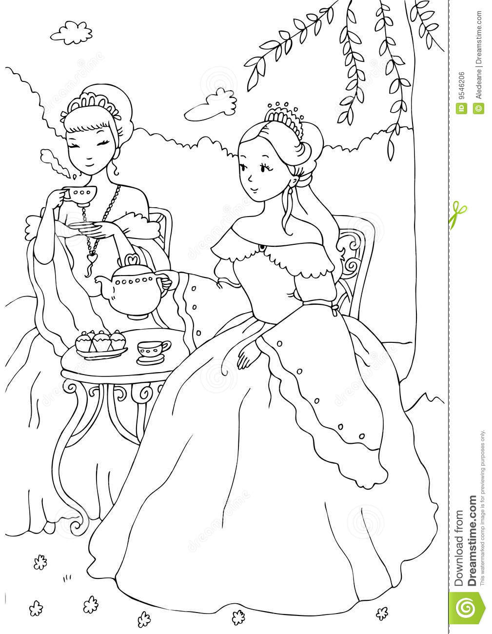 Two Princesses Having Tea Coloring Sheet Stock