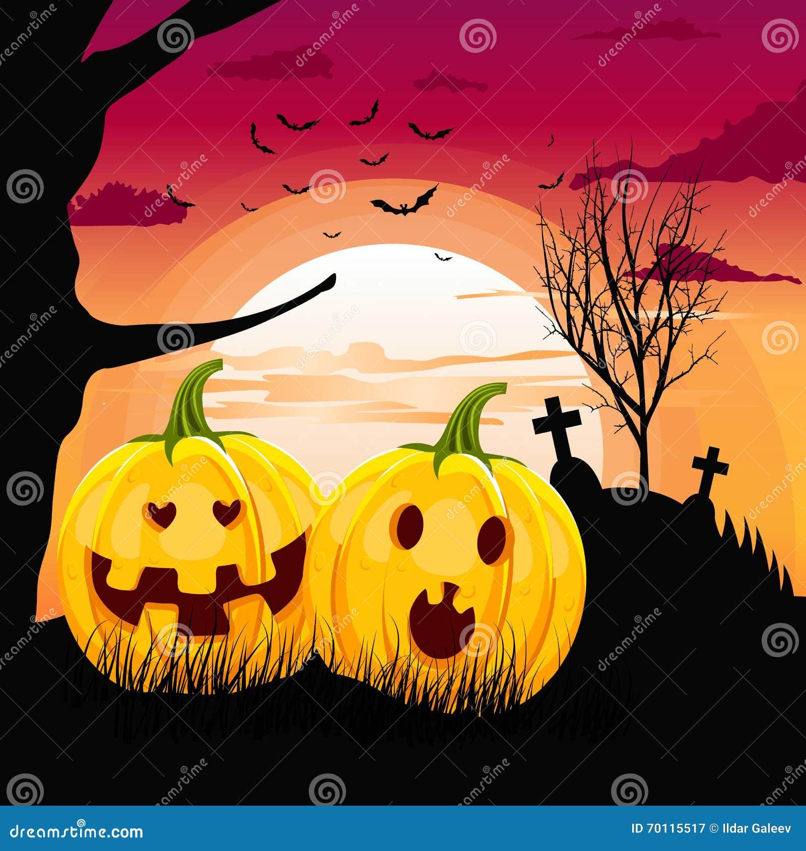 two pumpkins in romantic full moon halloween night date stock vector