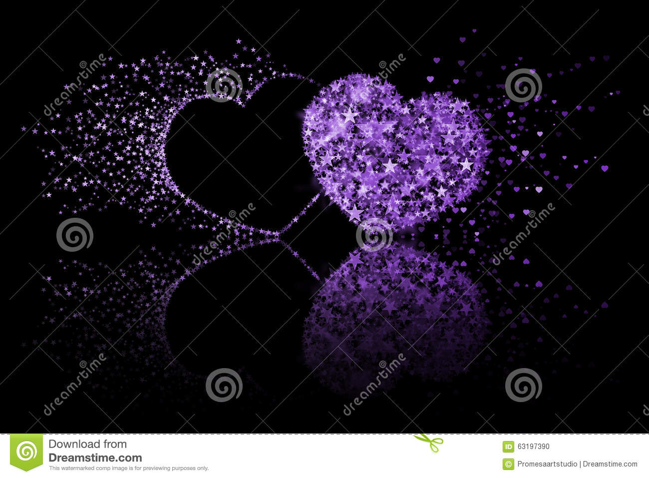 Purple And Black Hearts Wallpaper: Two Purple Hearts On Black Background With Reflection