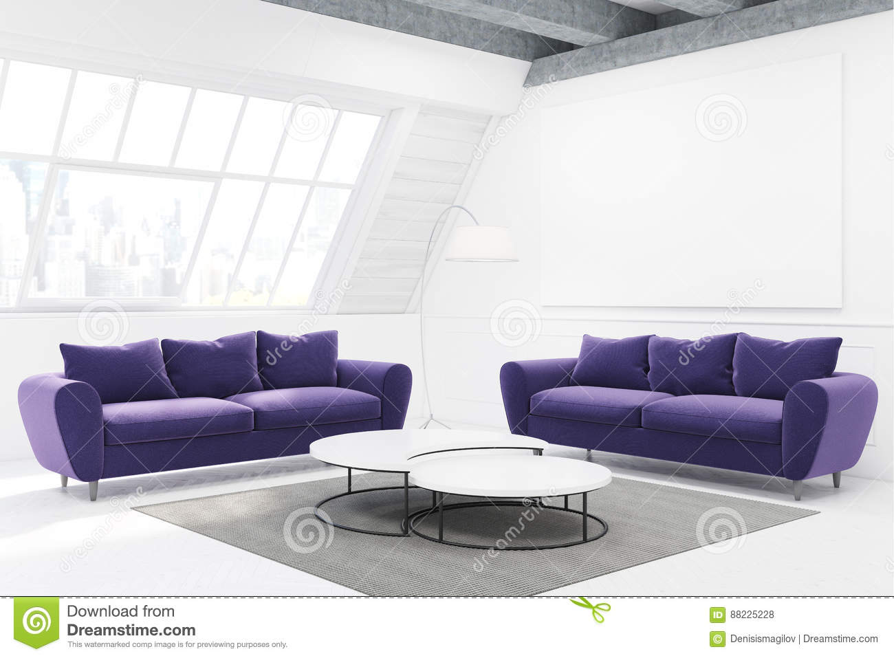 Two Purple Sofas And A Table, Side View Stock Illustration ...