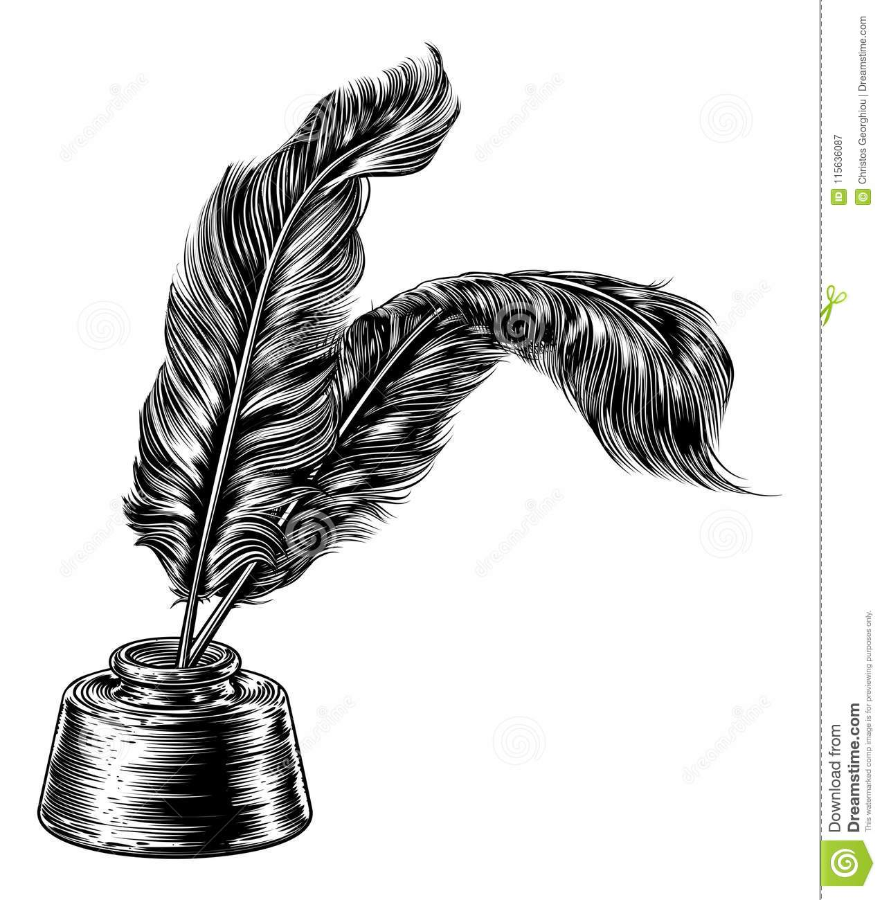Quill And Inkwell Drawing Quill Inkwell S...