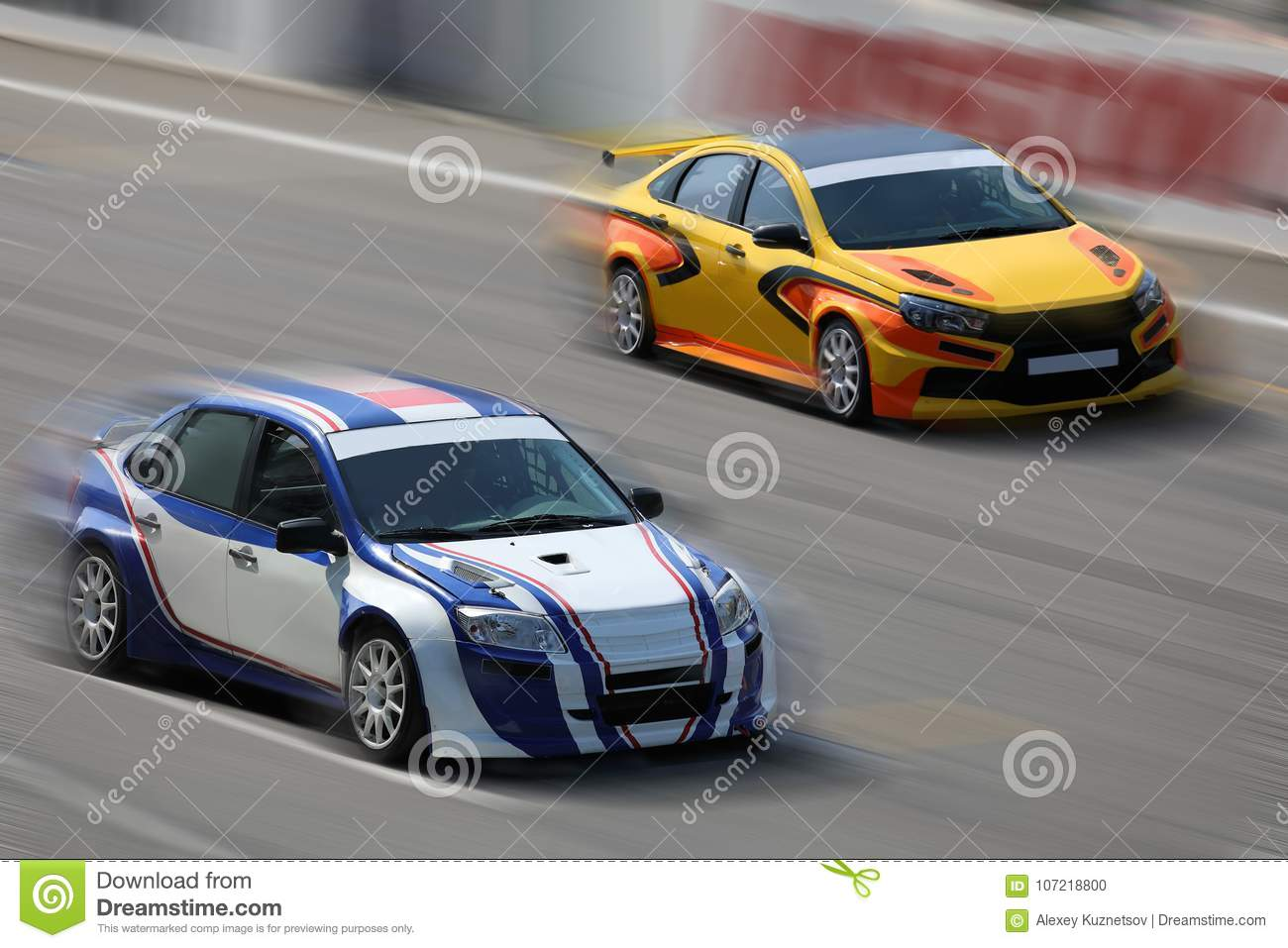 Two Racing Cars On A Racing Track Stock Photo - Image of ...