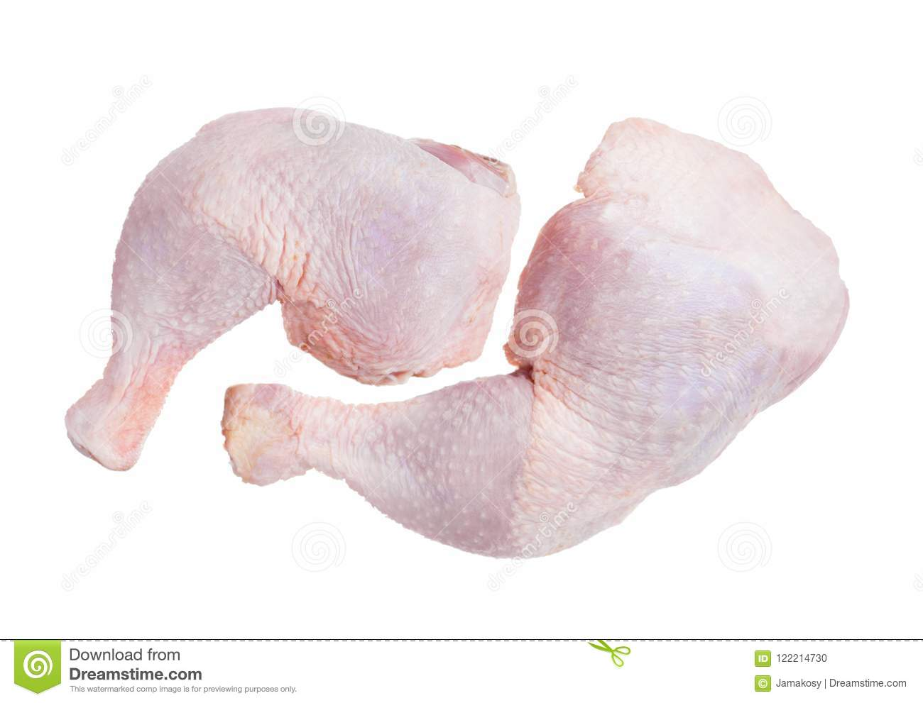 Two Raw Chicken Leg Drumsticks Isolated On A White Background Stock