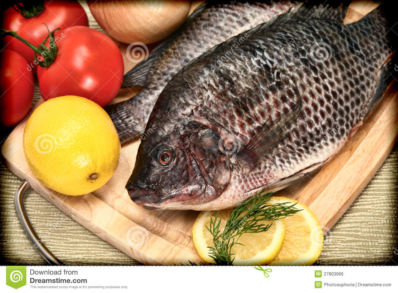 Two raw tilapia fish in vintage style photograph royalty for What type of fish is tilapia