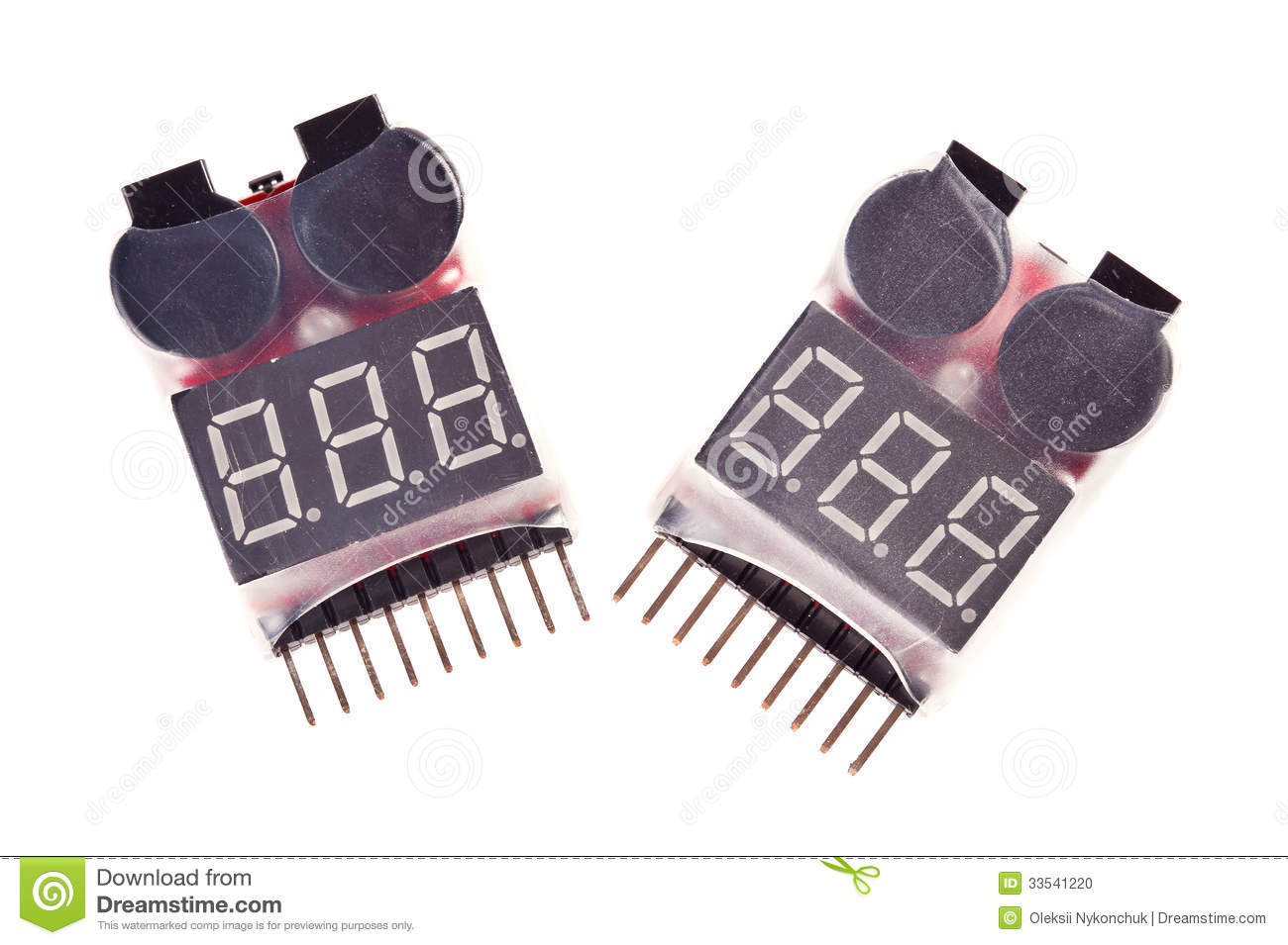Two Rc Voltage Lipo Battery Meter Indicator Stock Photo Image Of
