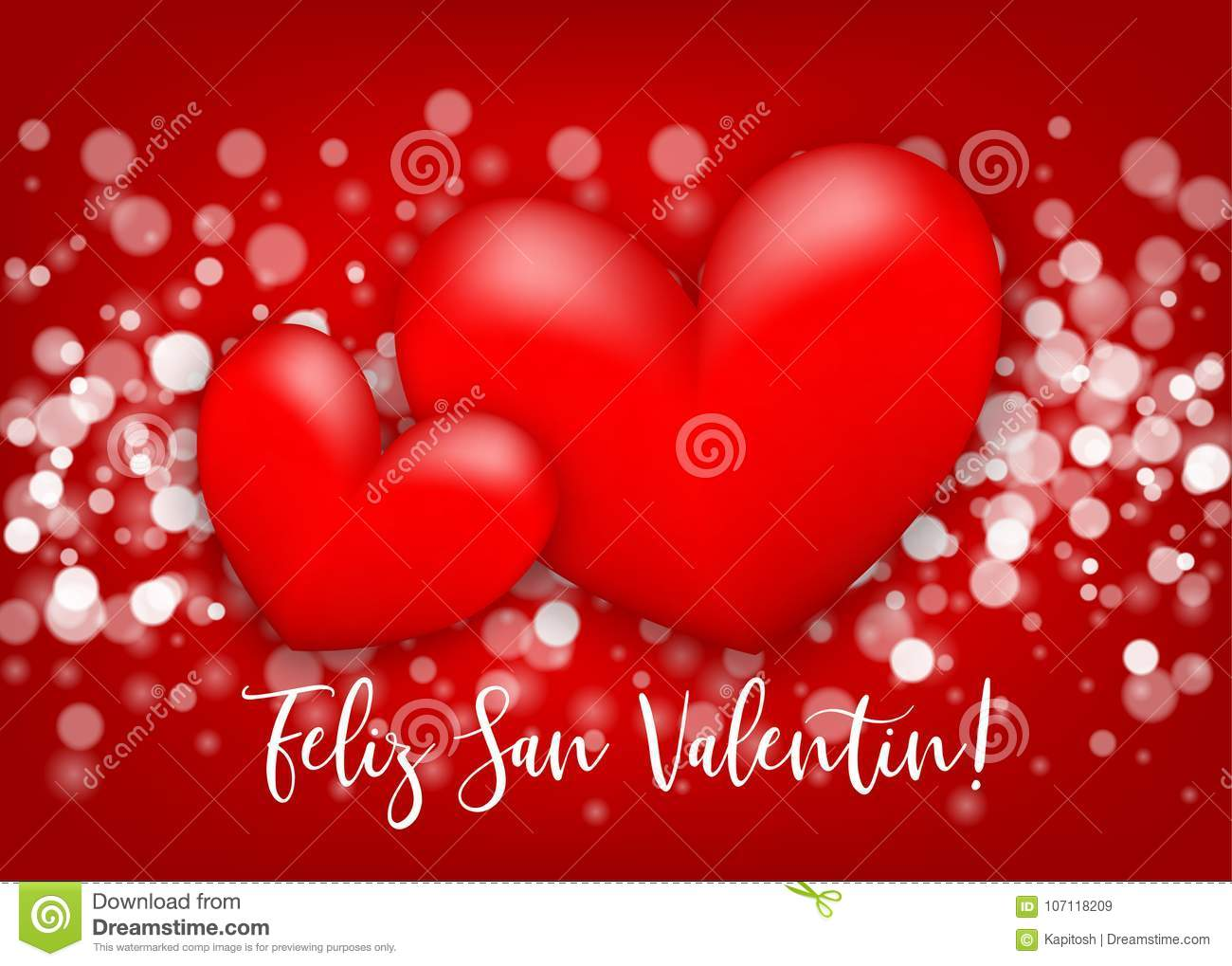 Happy Valentines Day Heart Greeting Card Stock Vector Illustration