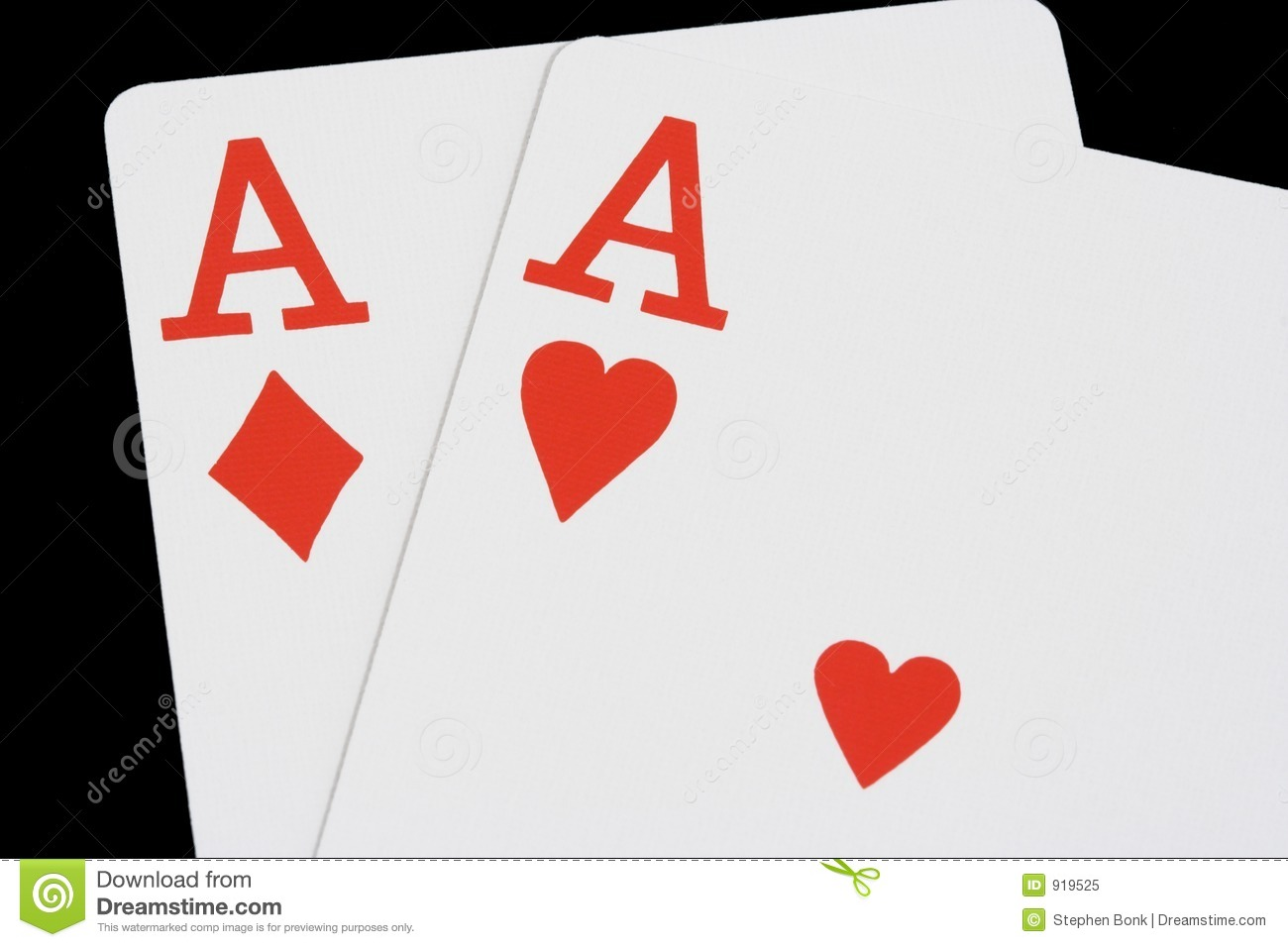 two red aces on black stock image image of aces cards