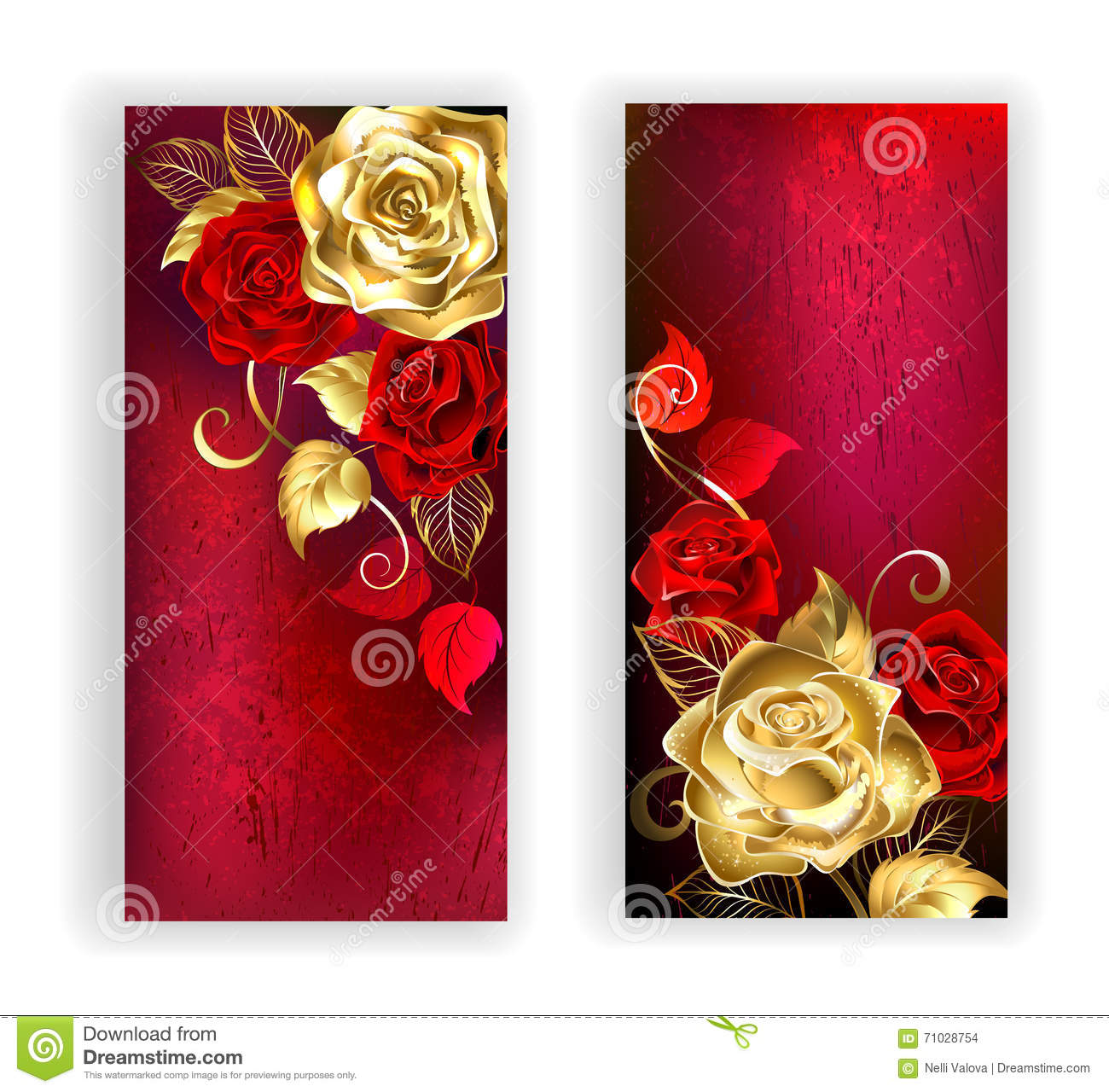 ... gold and red roses on red textural background. Design with roses. Gold