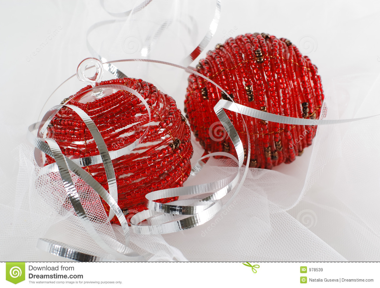 Silver and red christmas decorations - Two Red Beaded Christmas Ornaments With Silver Ribbon Royalty Free Stock Images