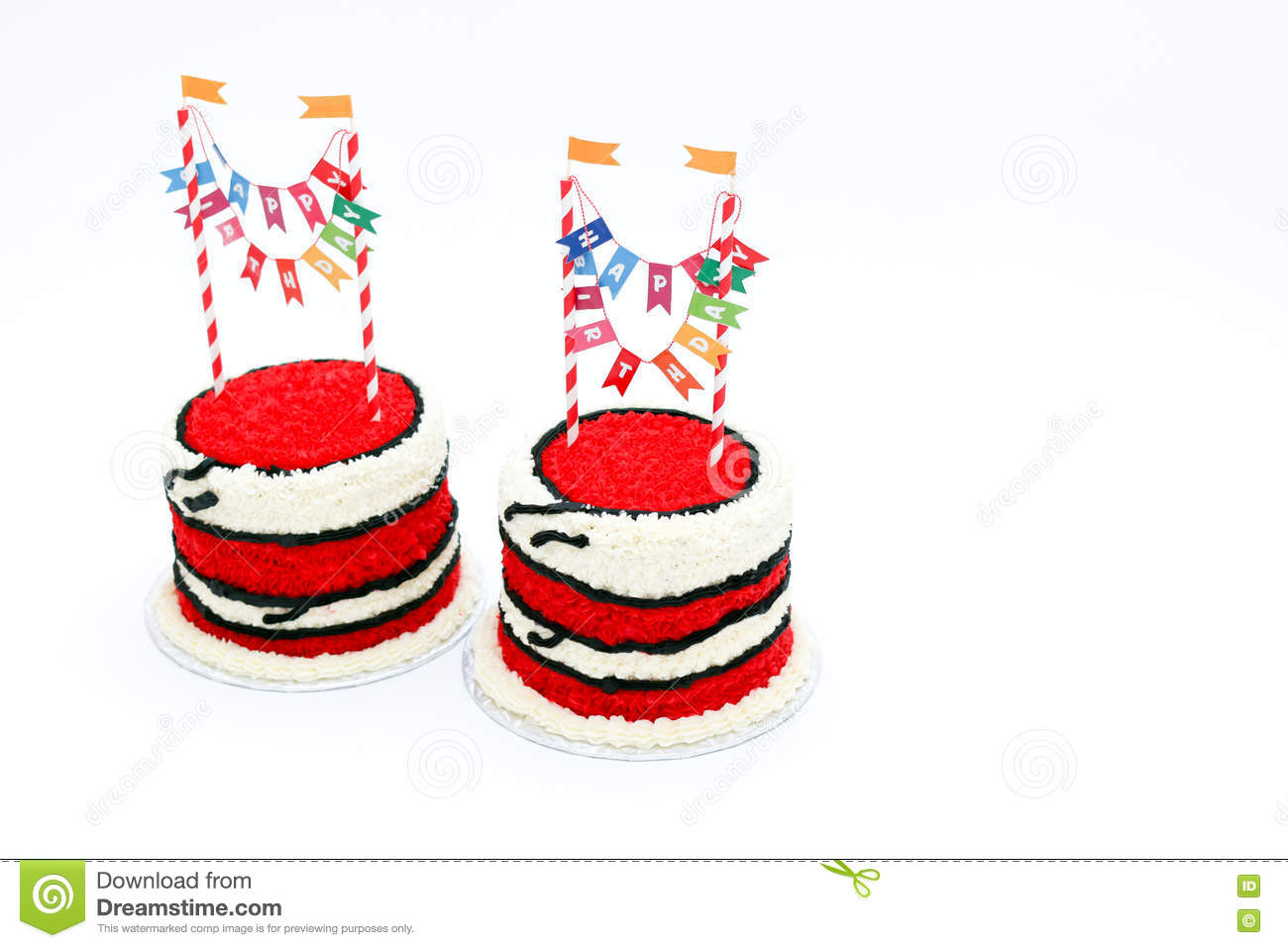 Two Red Birthday Cakes With Banners