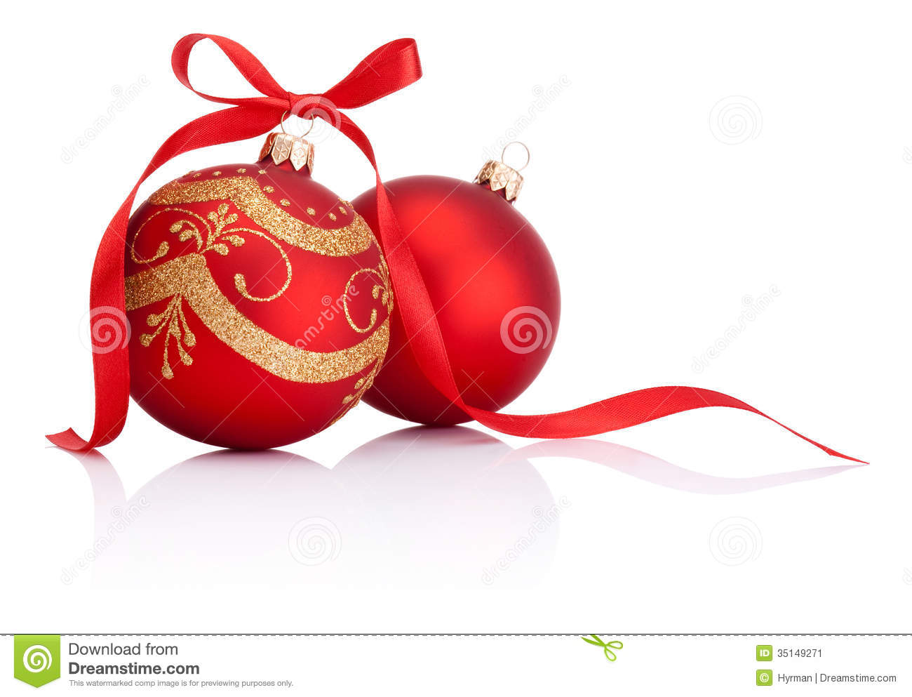 Two Red Christmas Decoration Balls With Ribbon Bow Stock Image