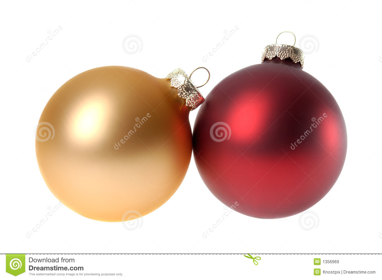 Red and gold christmas ornaments - Two Red Christmas Ornaments Baubles White Background Royalty Free Stock Images