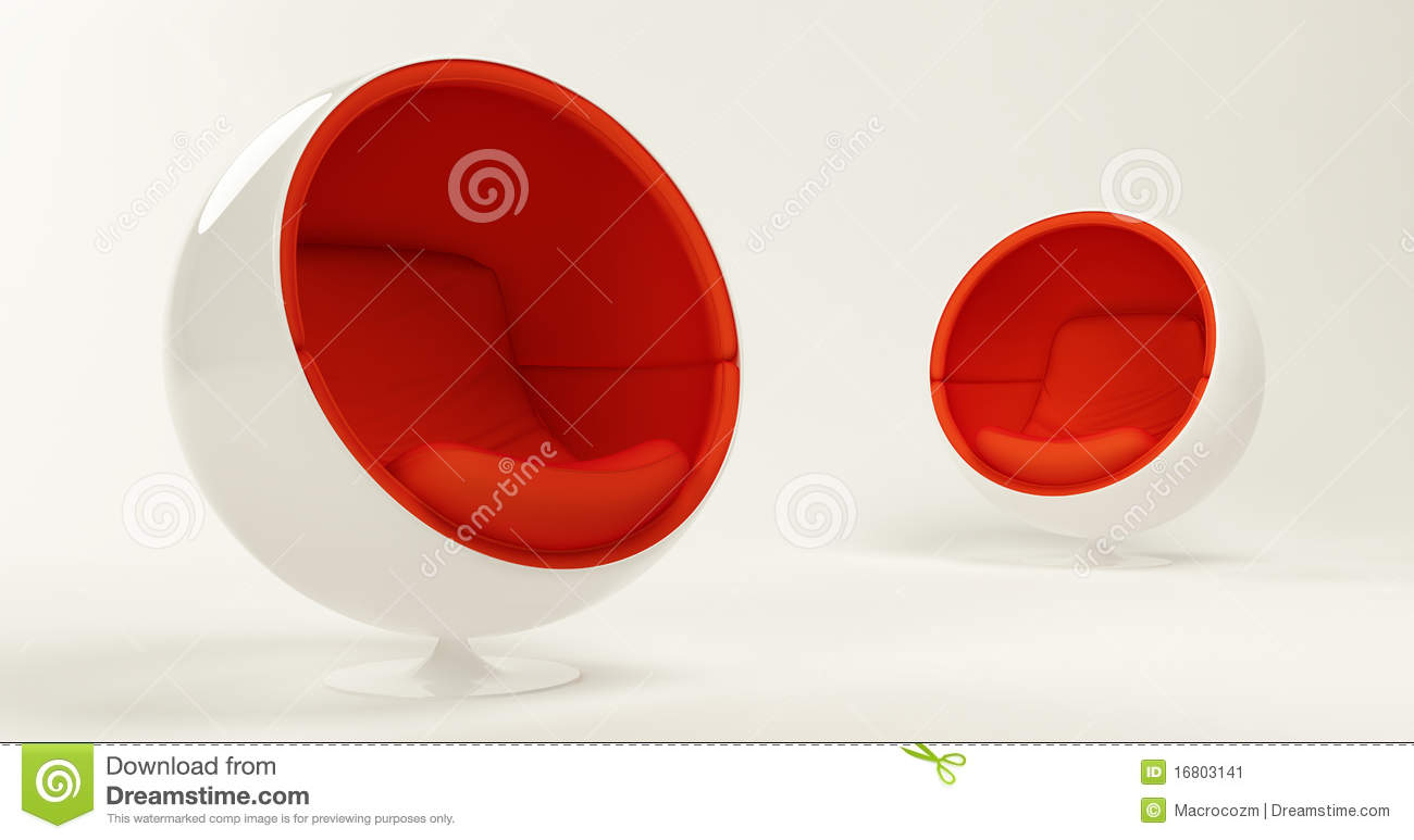 Two red cocoon ball chairs isolated on white