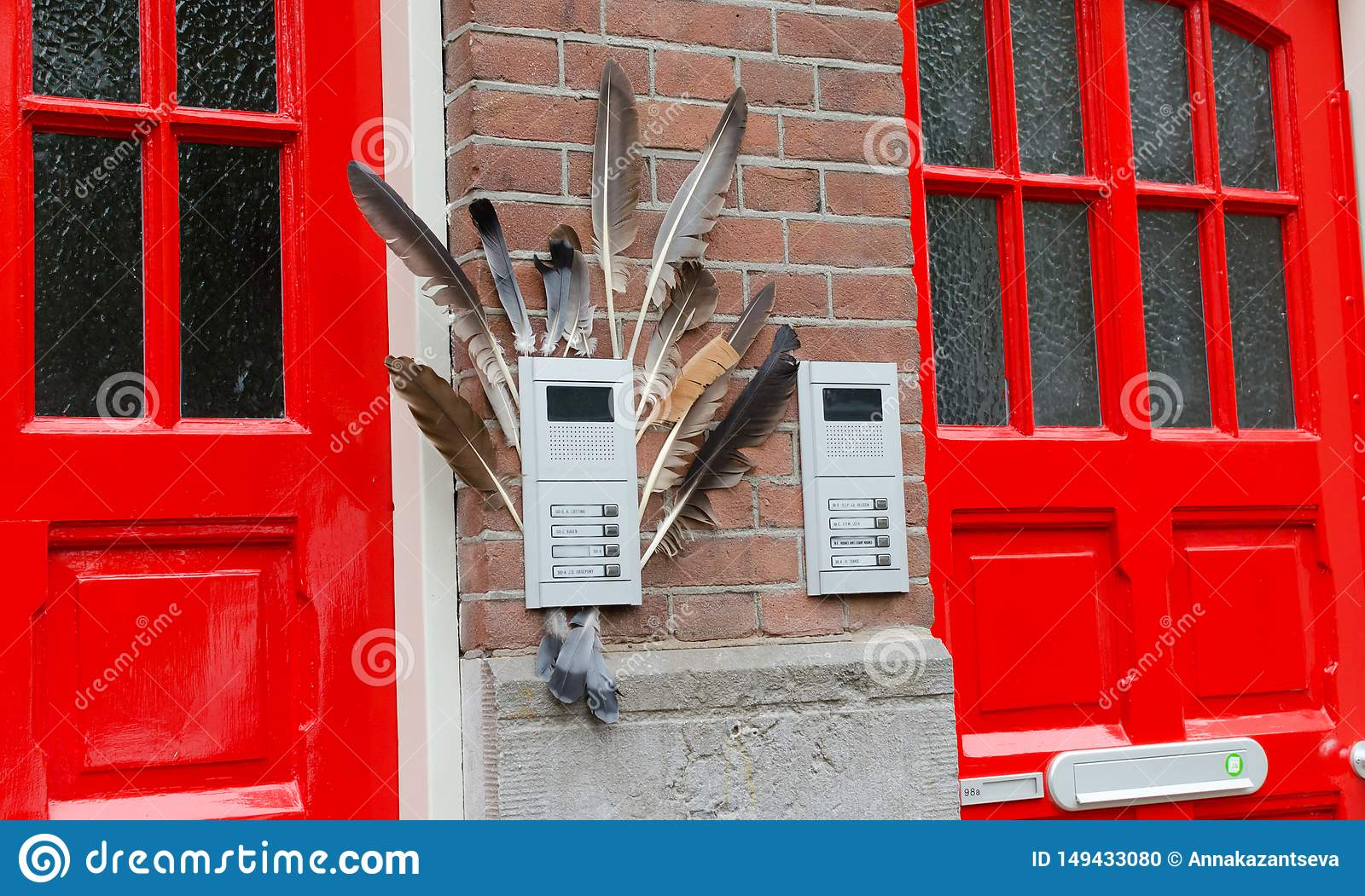 Two red doors on the facade of the house with birf feathers. Big street flowerpot with green plant. Amsterdam Oost. East side