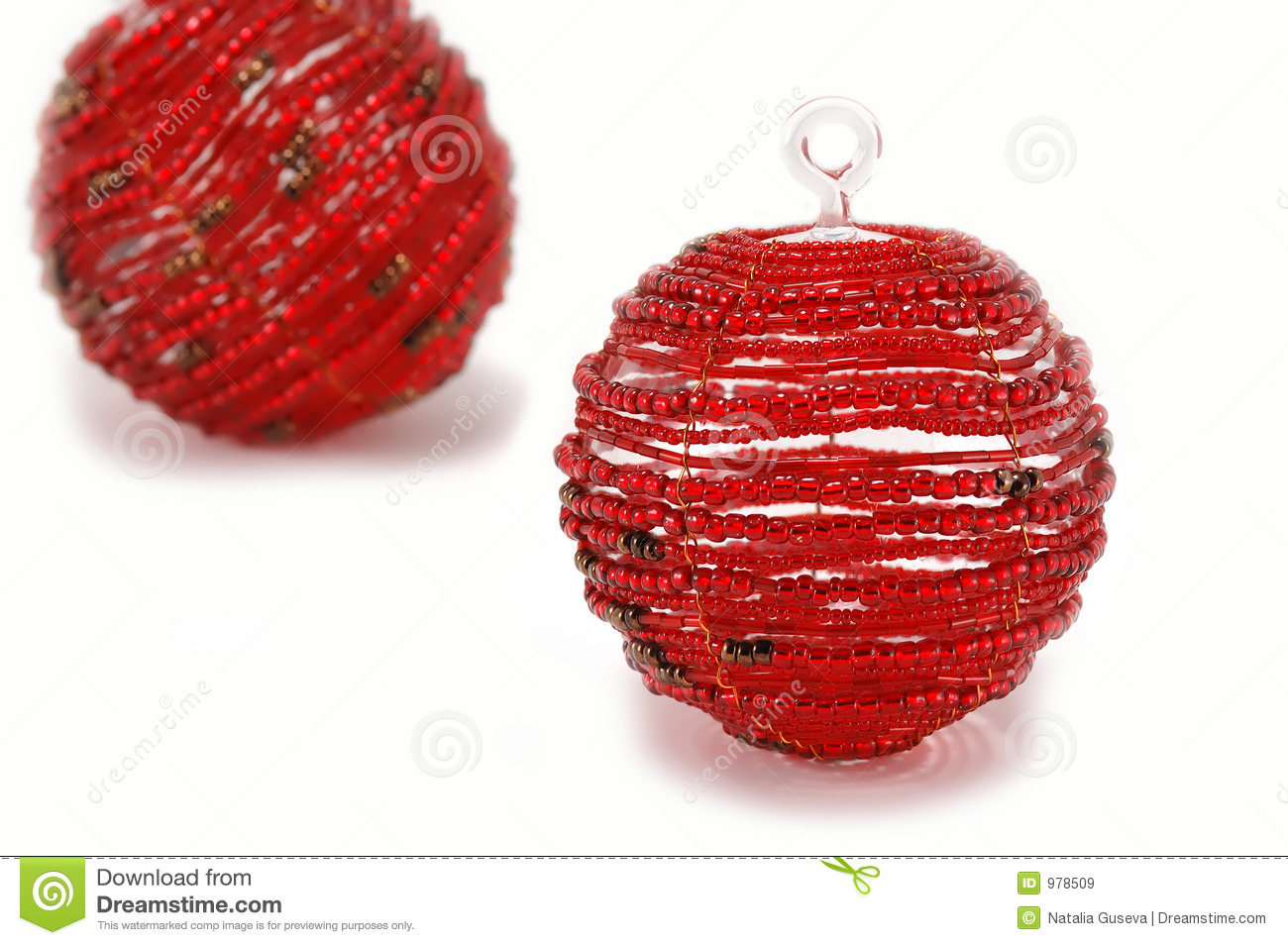 Red glass christmas ornaments - Two Red Glass Christmas Ornaments
