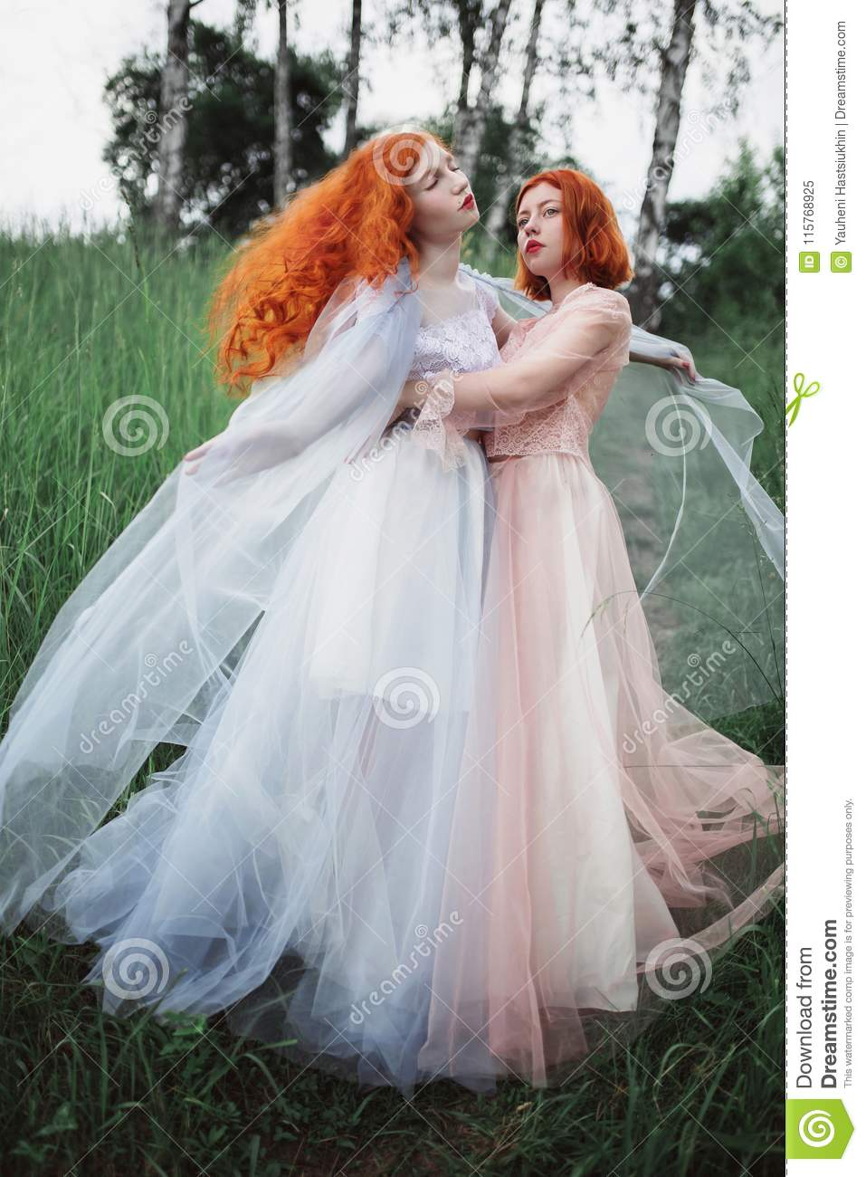 Two red-haired girls in free dresses of tulle on the background of a summer ravine.