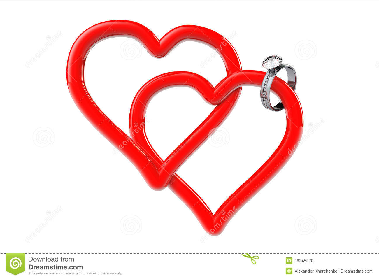 two red hearts with diamond wedding ring royalty free