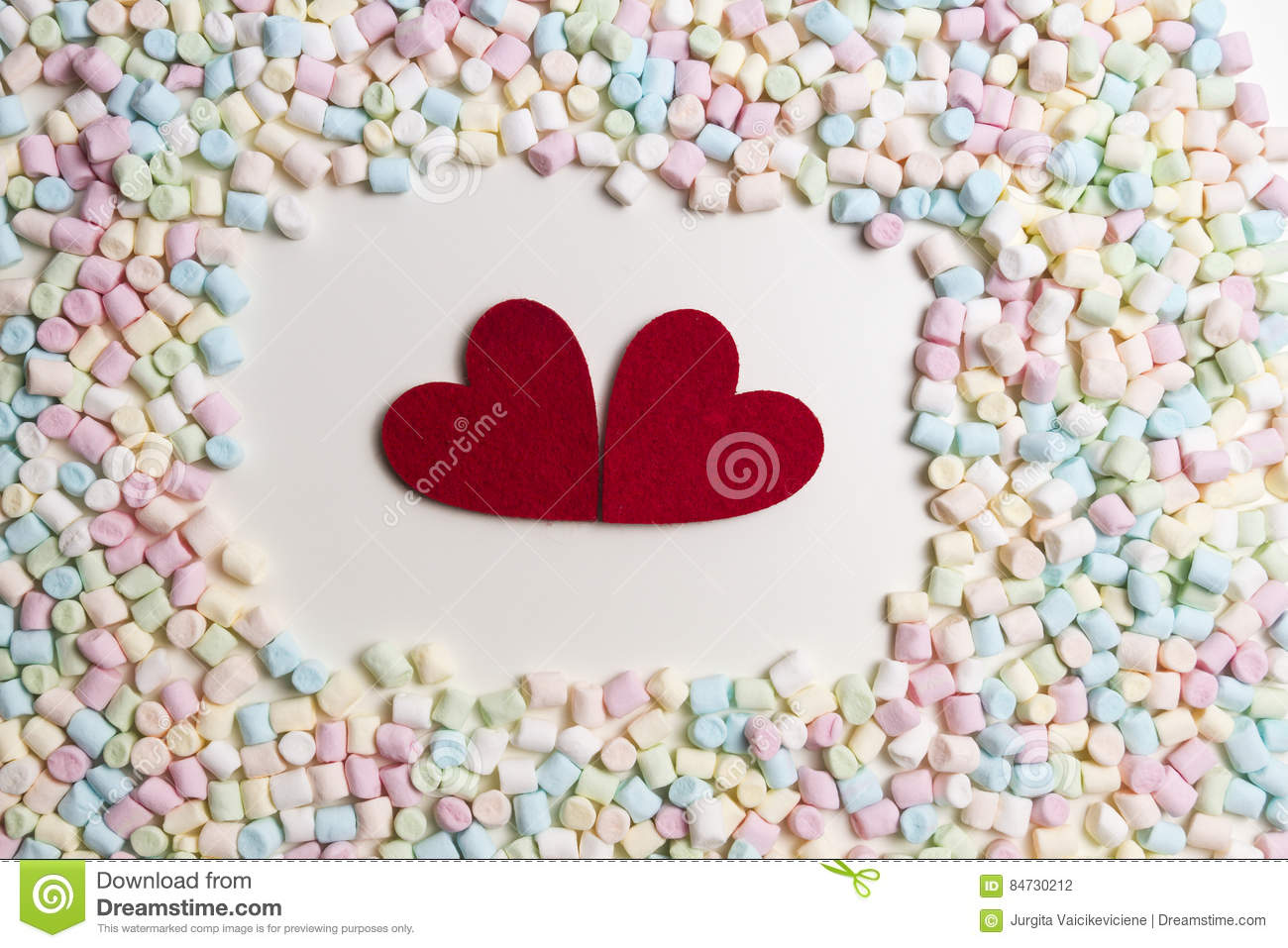 Two Red Hearts In The Frame Of Colorful Mini Marshmallows As ...