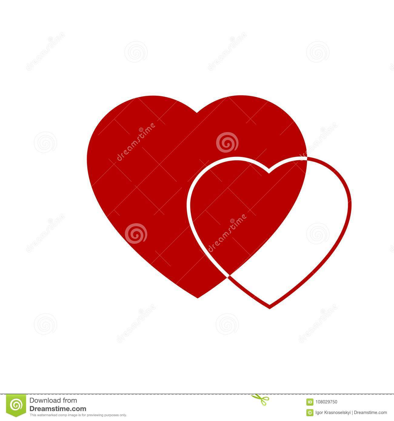 Two red hearts icon. Hearts on transparent background. Love icon. Hearts from greeting card on Valentine day