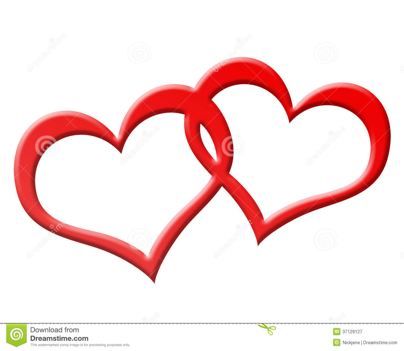 Two Red Hearts Joined Together Royalty Free Stock ...