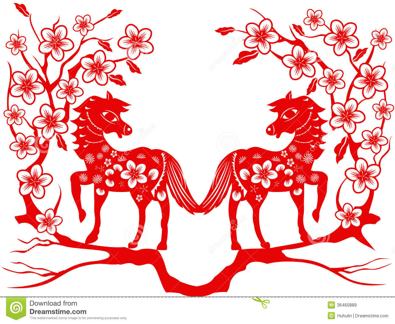 Two Red Horse For Chinese New Year Royalty Free Stock