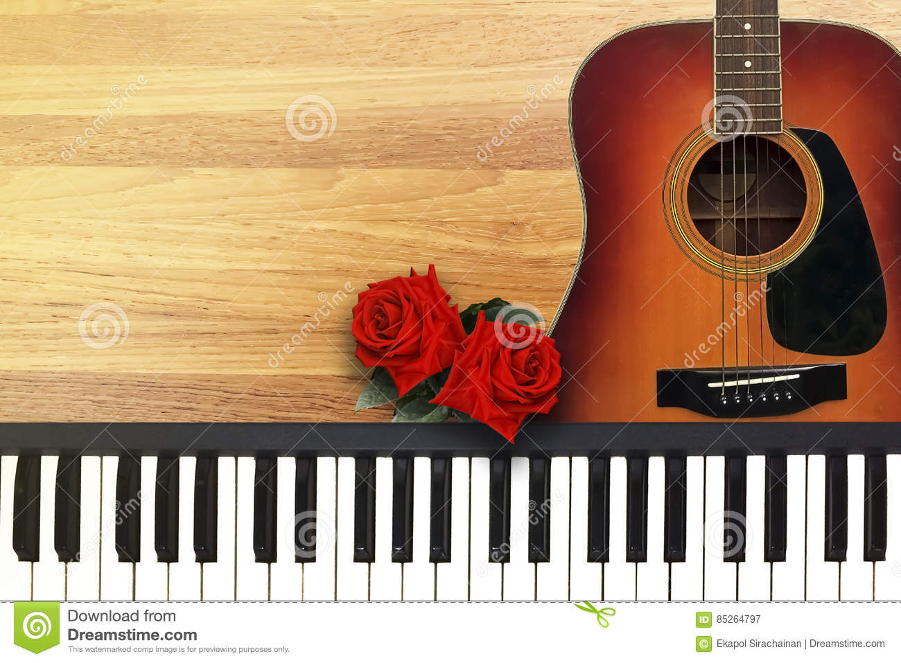 Two Red Roses With Romantic Valentine Love Song Stock Image Image