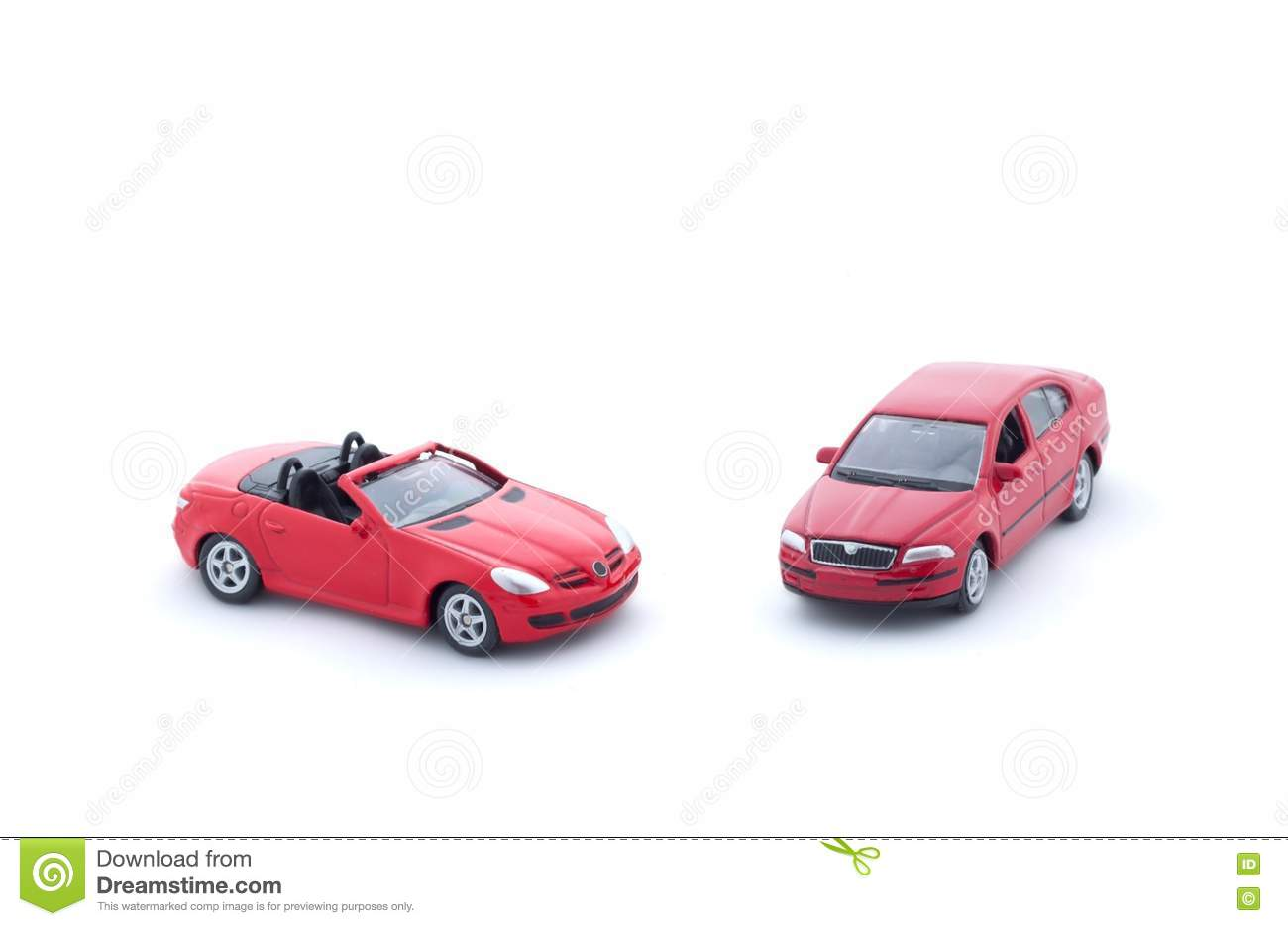 Two Red Toy Cars On White Background, Stock Photo - Image ...
