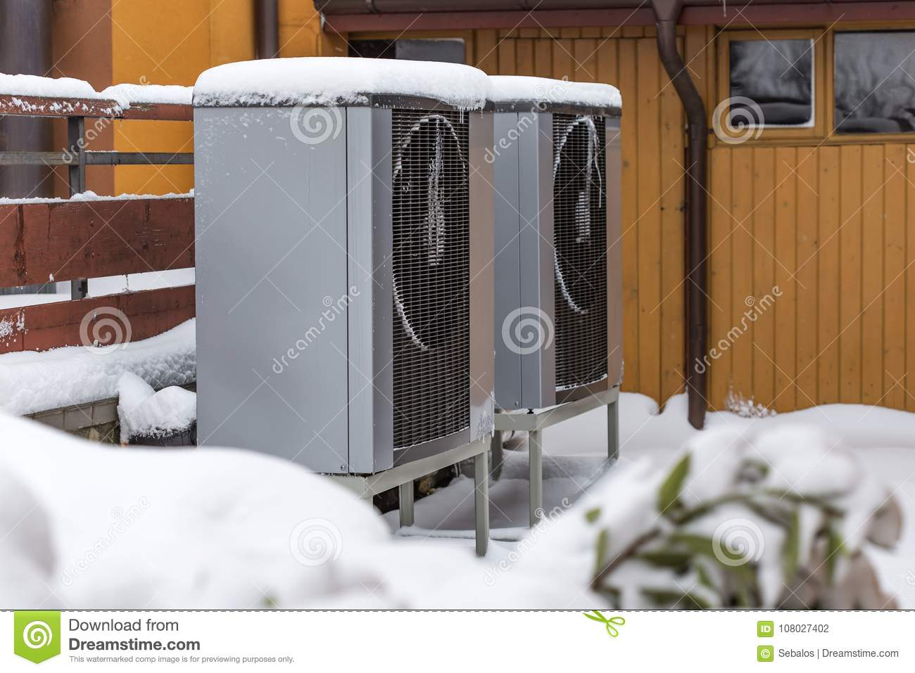 Two Residential Modern Heat Pumps Stock Photo Image Of Compressor Wiring Electric Buried In Snow Winter