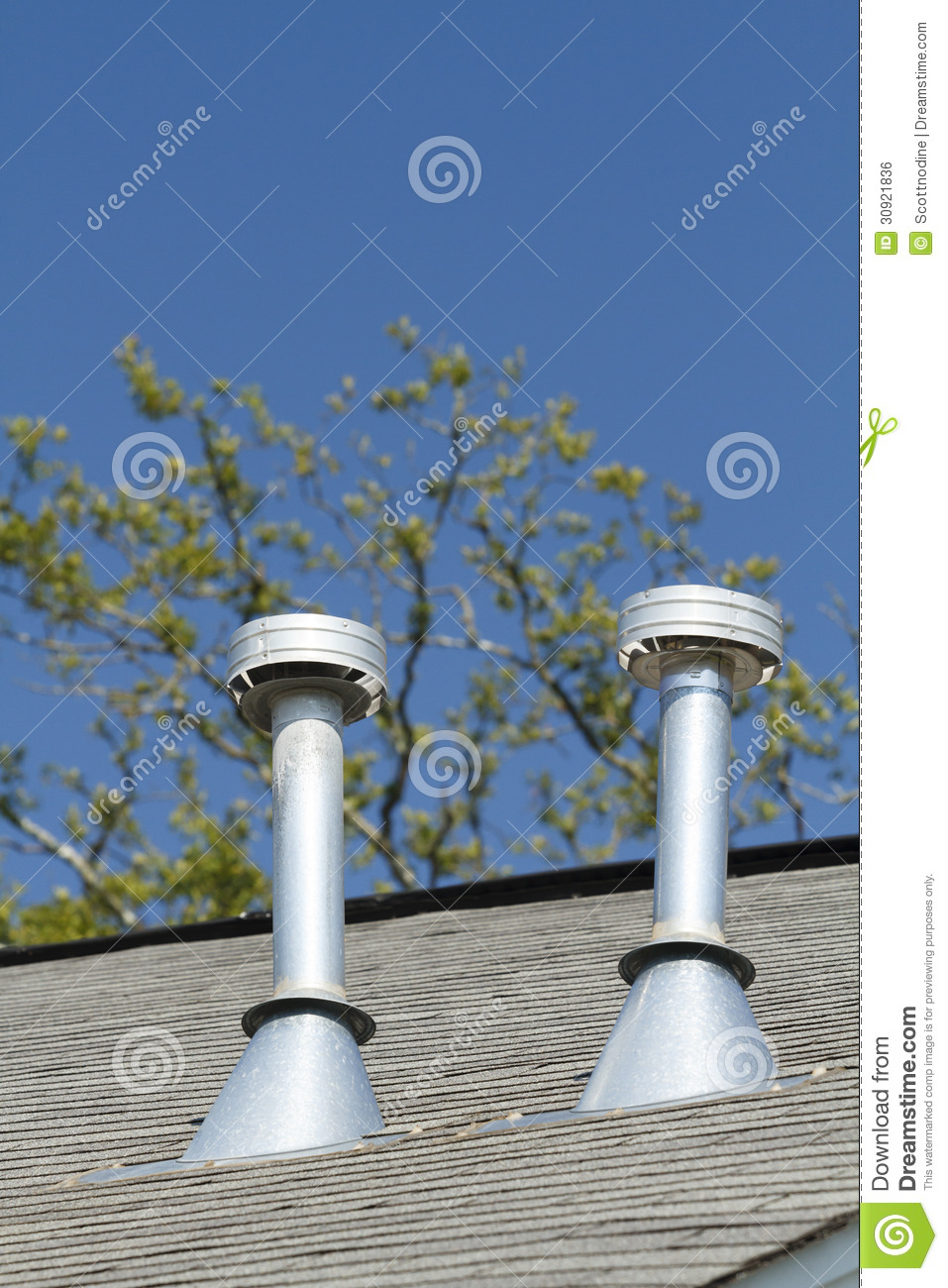 Roof Top Vent : Two residential roof exhaust vents royalty free stock