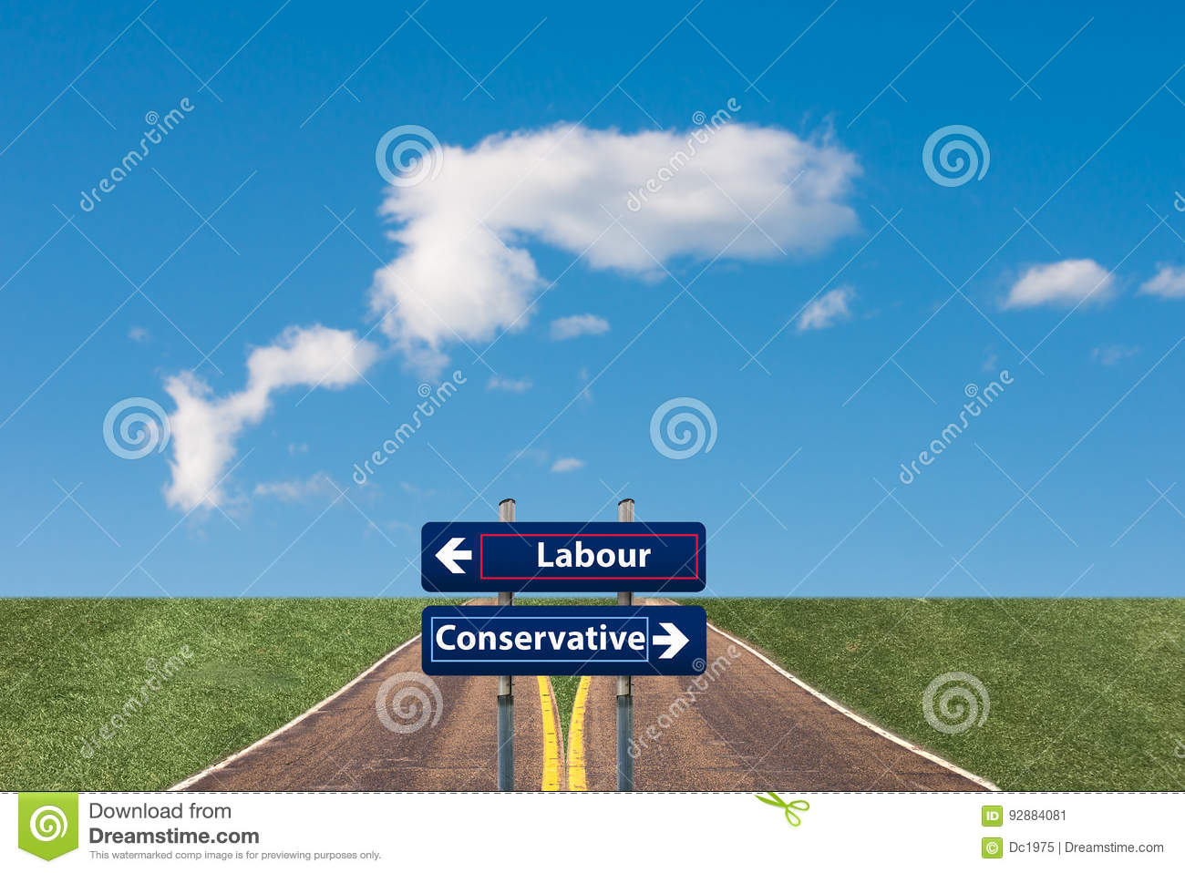 Two road signs pointing to a juncture between Labour and Conservative in the upcoming UK elections