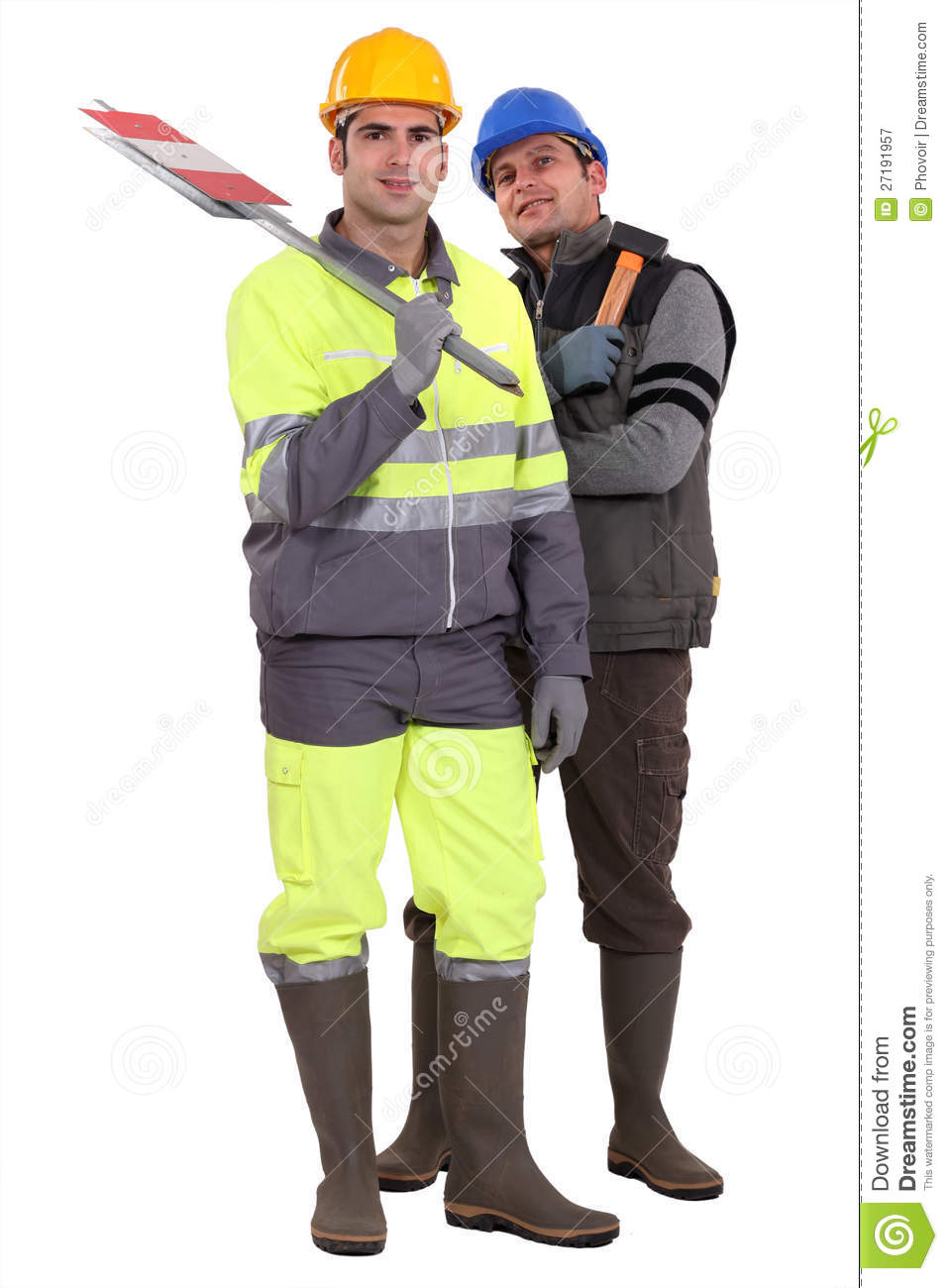 Road Construction Workers Standing Around