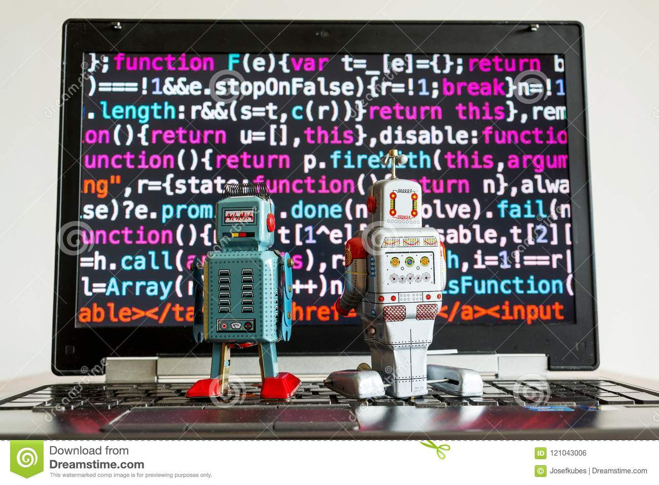 Robots with source code screen, artificial intelligence, deep learning concept