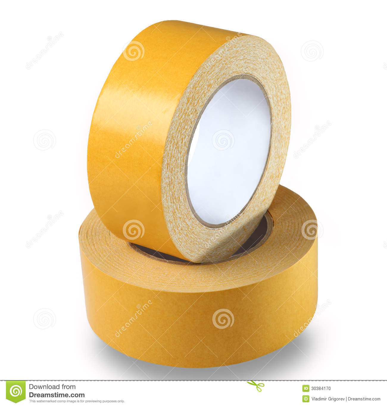 Two rolls of yellow double-sided tape on a white background, iso