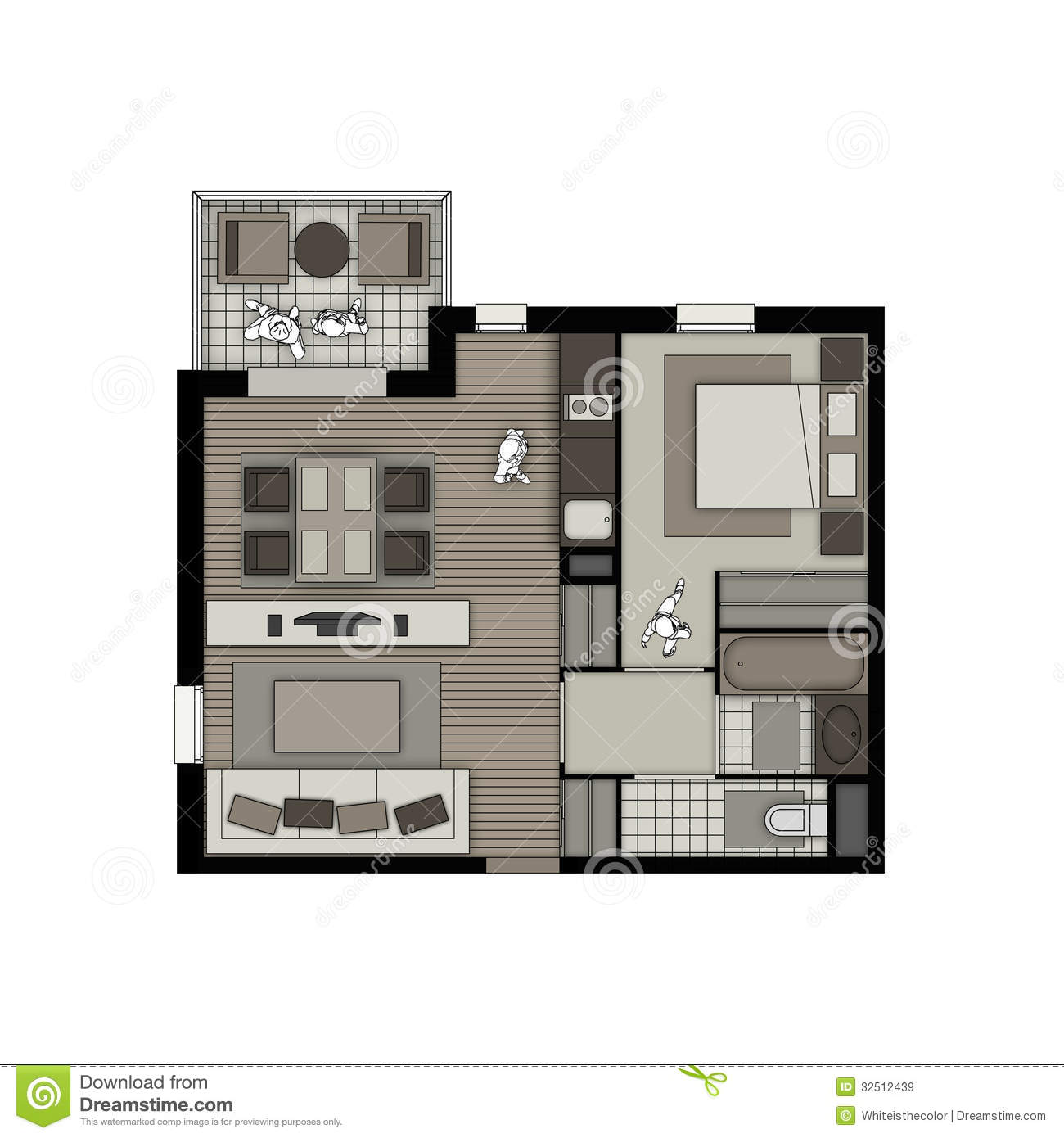 Two rooms apartment with balcony beige interior stock for Living room bedroom bathroom kitchen