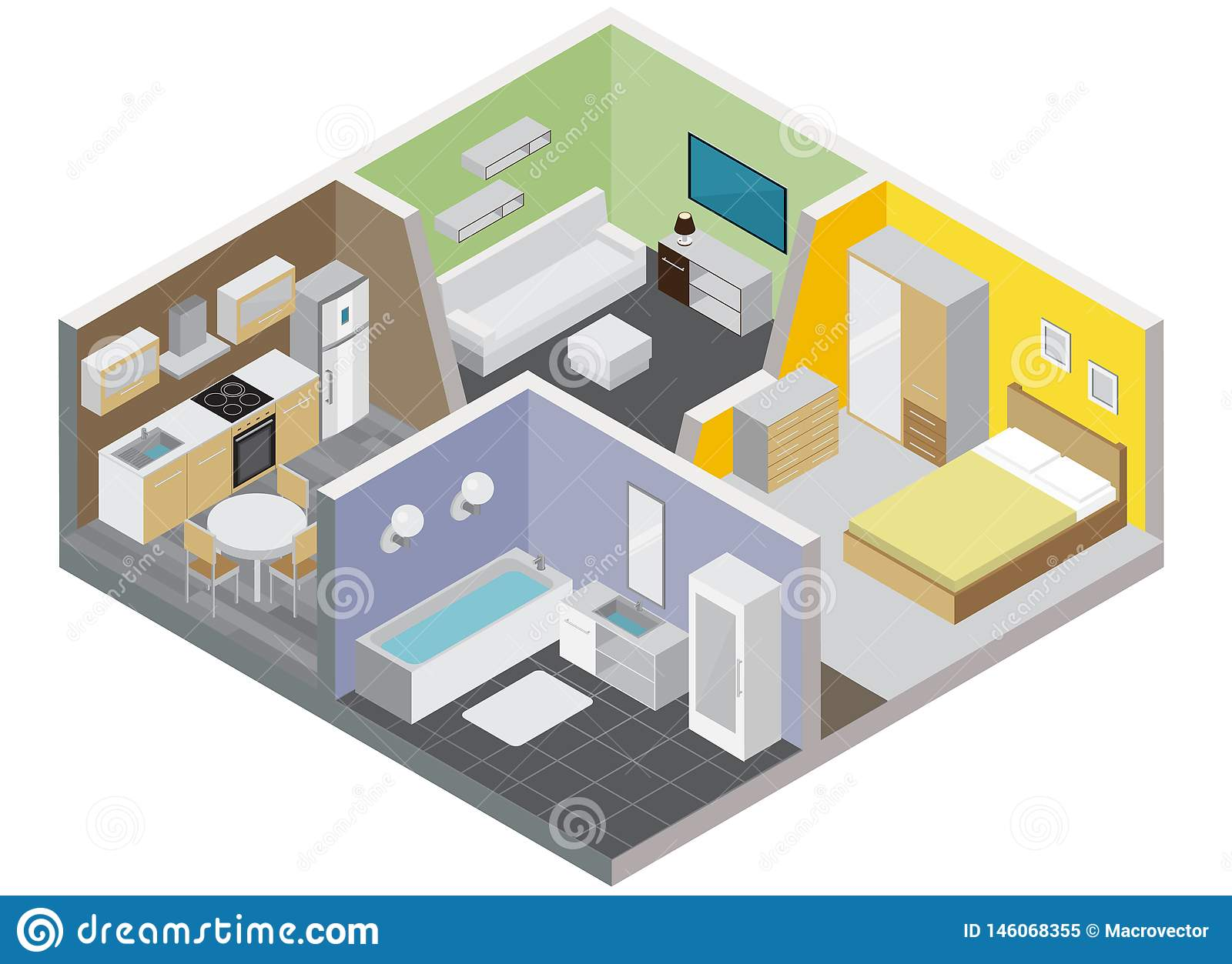 Two Rooms Apartment Design Concept Stock Vector - Illustration of