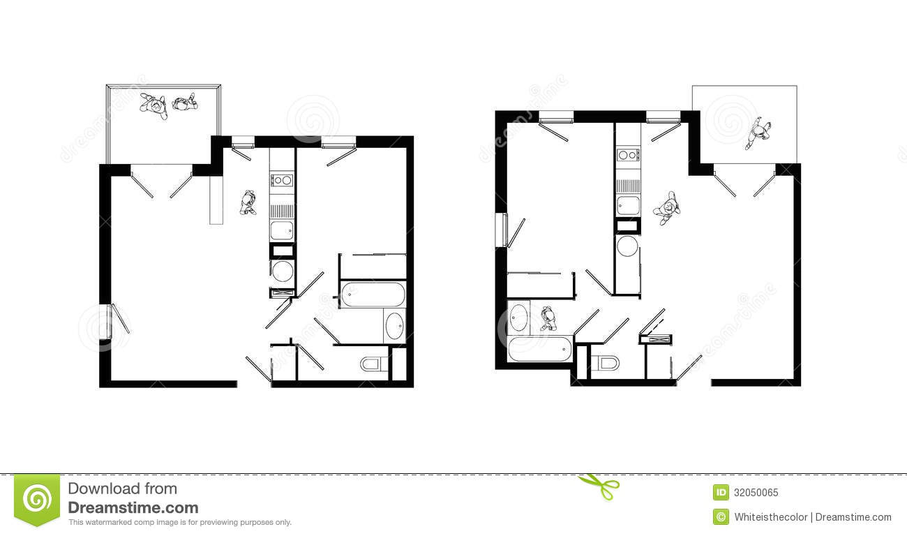 Two rooms apartment plans set royalty free stock photo Two room plan