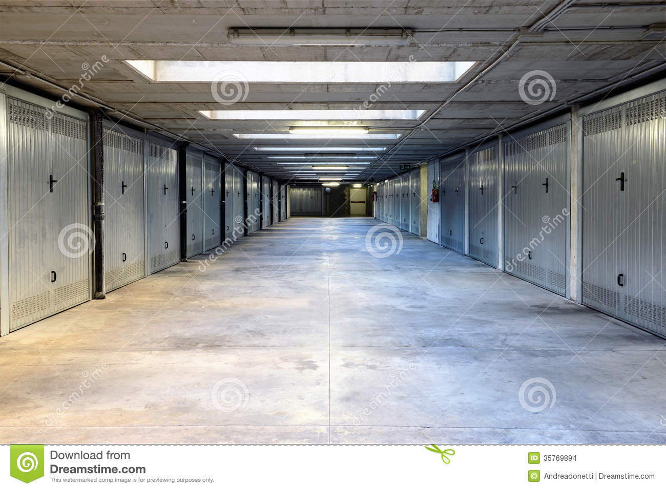 Two rows of garage doors stock images image 35769894 for Drive through garage door