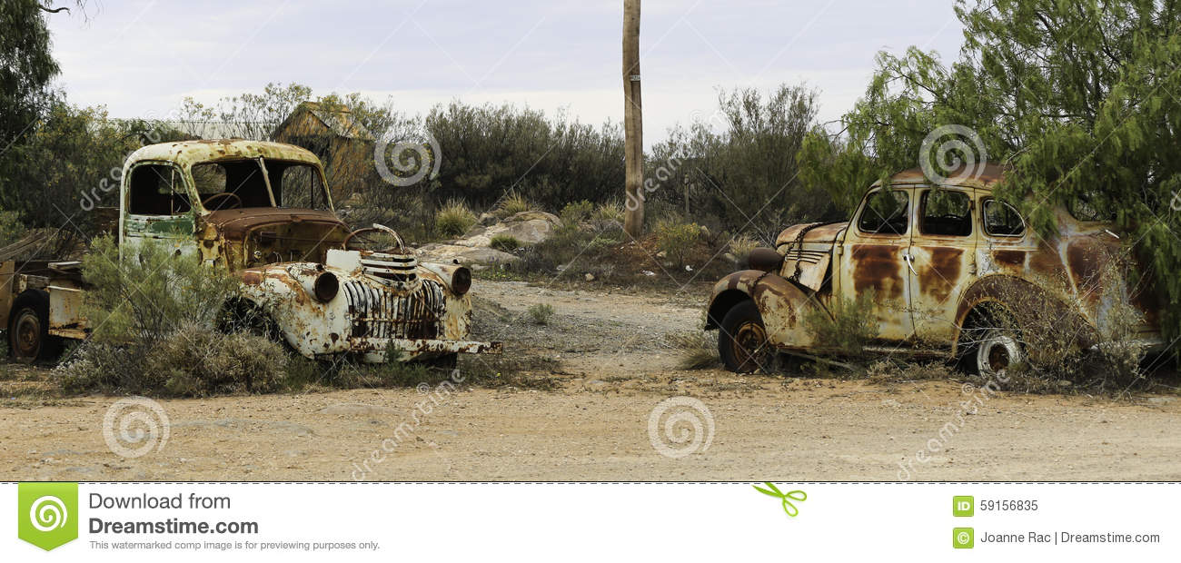 Two Rusted Out Cars- Broken Hill Stock Image - Image of town, hill ...