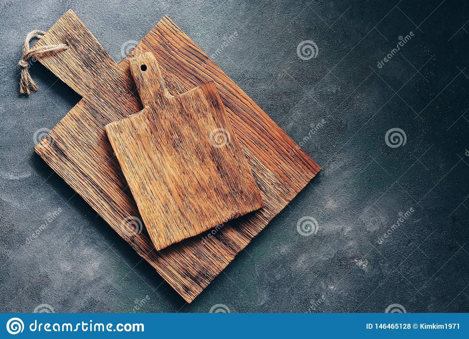 Two Rustic Wooden Cutting Board On A Gray Background Top View Flat Lay Copy Space Stock Photo Image Of Desk Blank 146465128