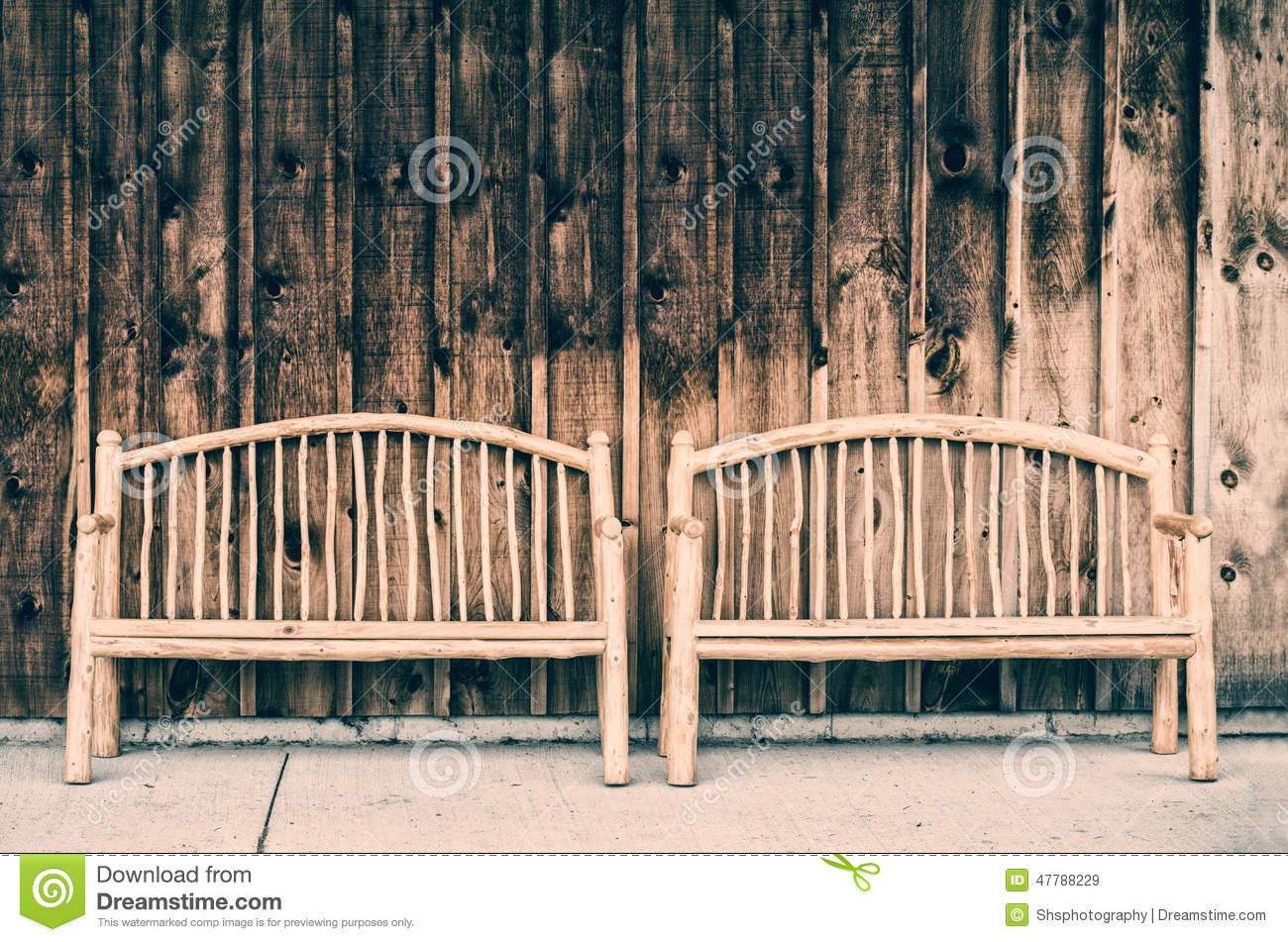 Super Two Rustic Wooden Log Benches Retro Stock Image Image Of Ibusinesslaw Wood Chair Design Ideas Ibusinesslaworg