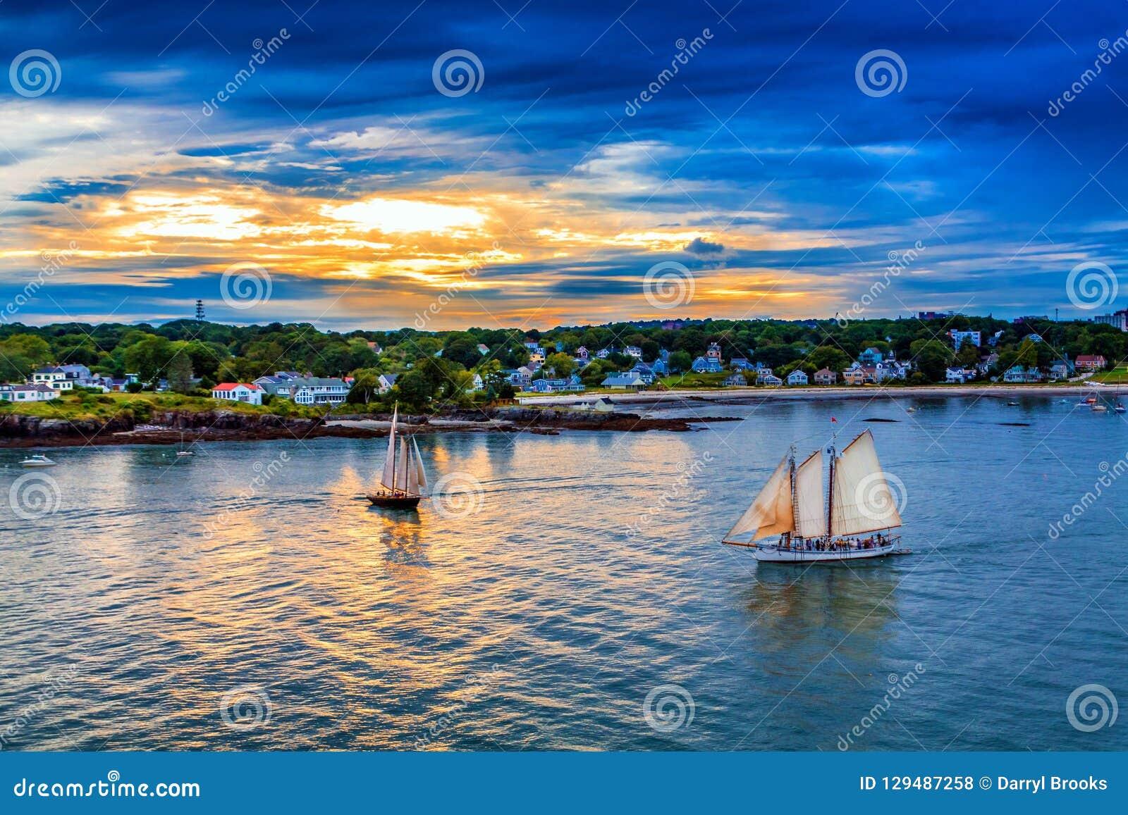 Two Sailboats at Sunset