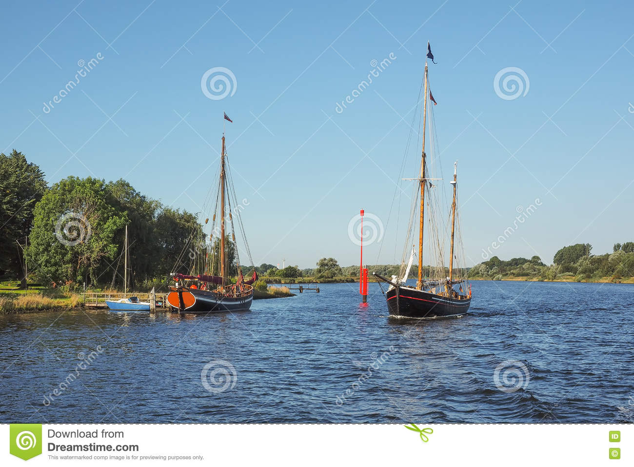 Two Sailingboats On River Trave In Summer Stock Image Image Of